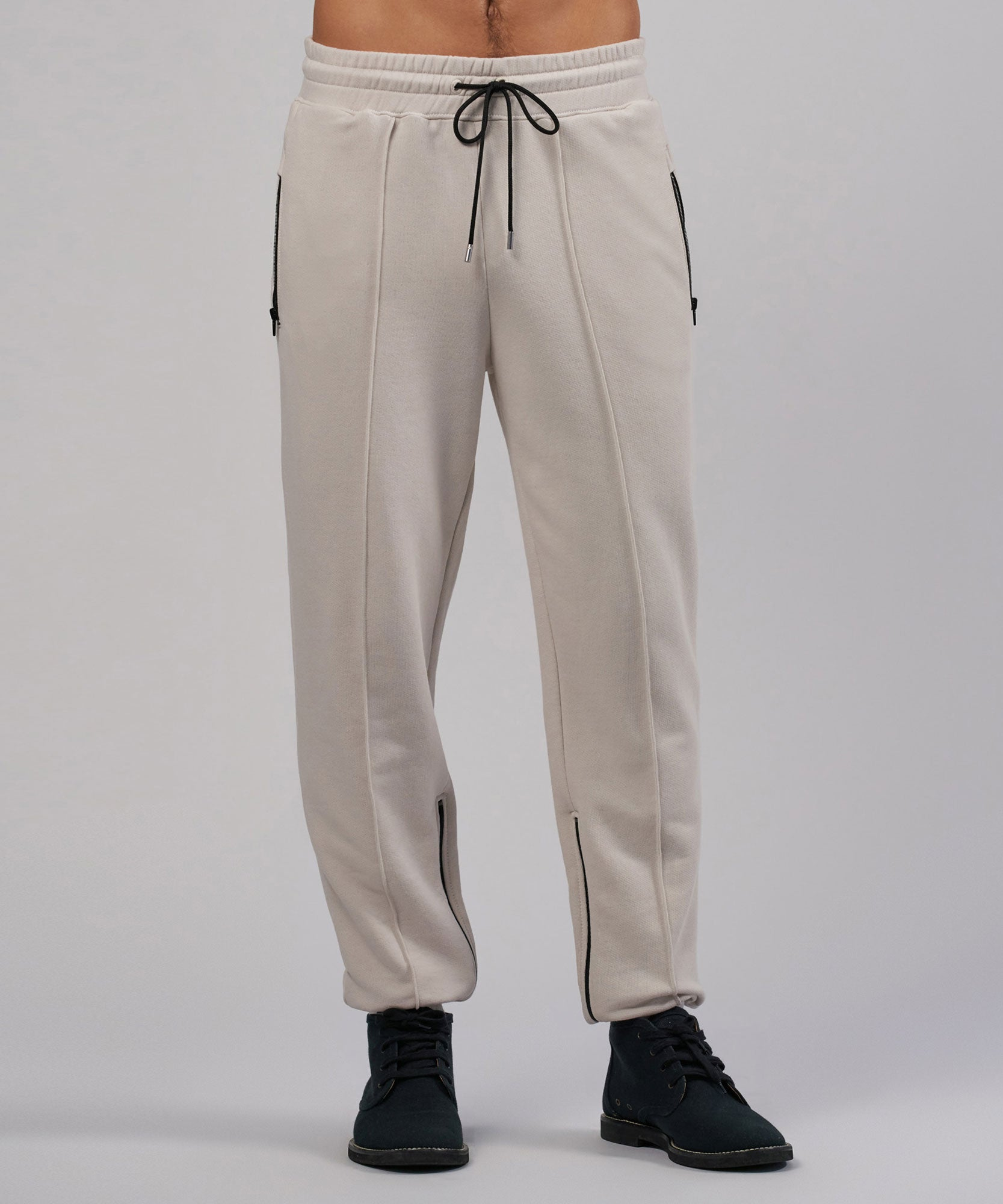Tan French Terry Zippered Sweatpants - Mens Pants by ATM Anthony Thomas Melillo