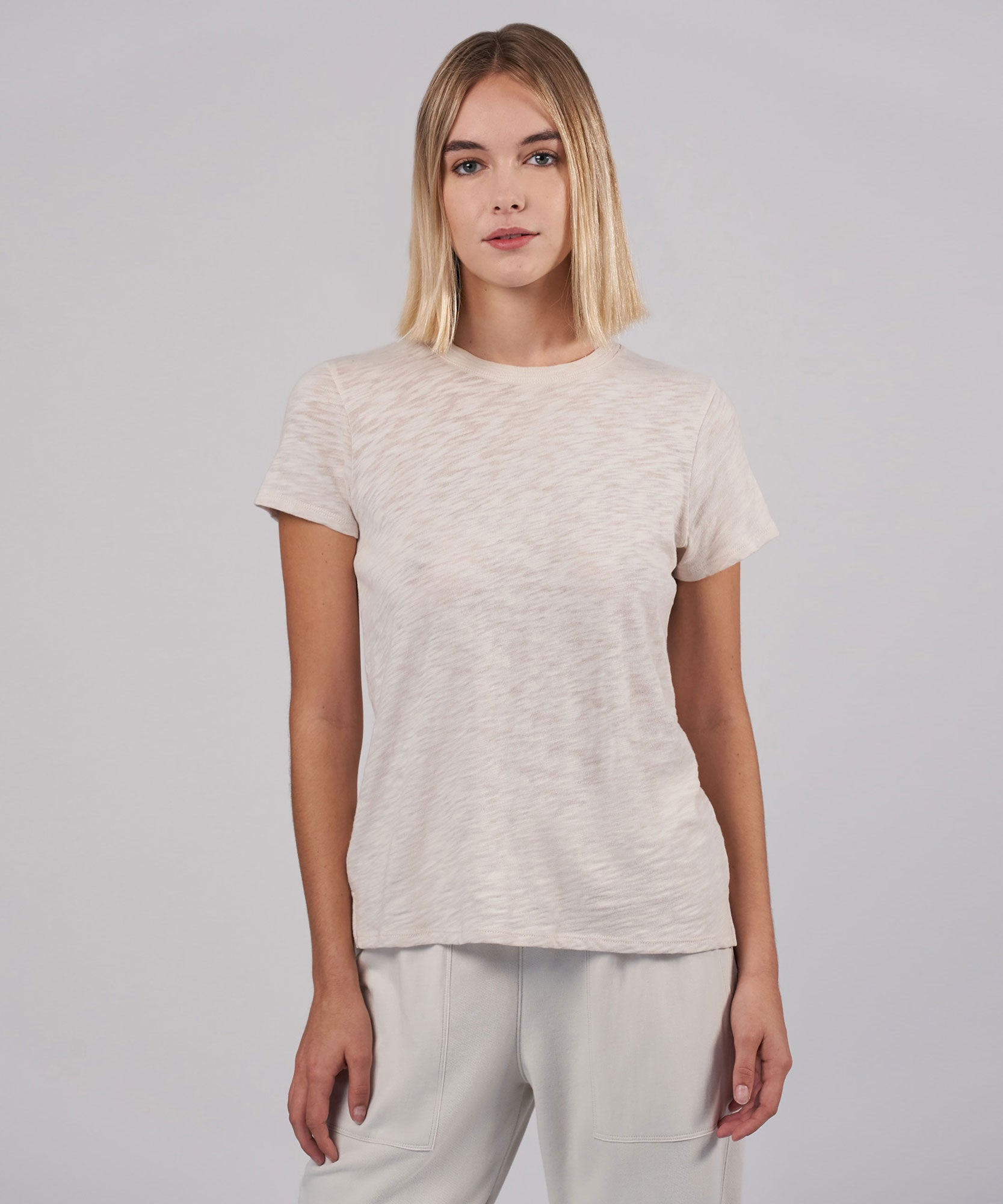 Tan Slub Jersey Schoolboy Crew Neck Tee - Women's Short Sleeve T-Shirt by ATM Anthony Thomas Melillo