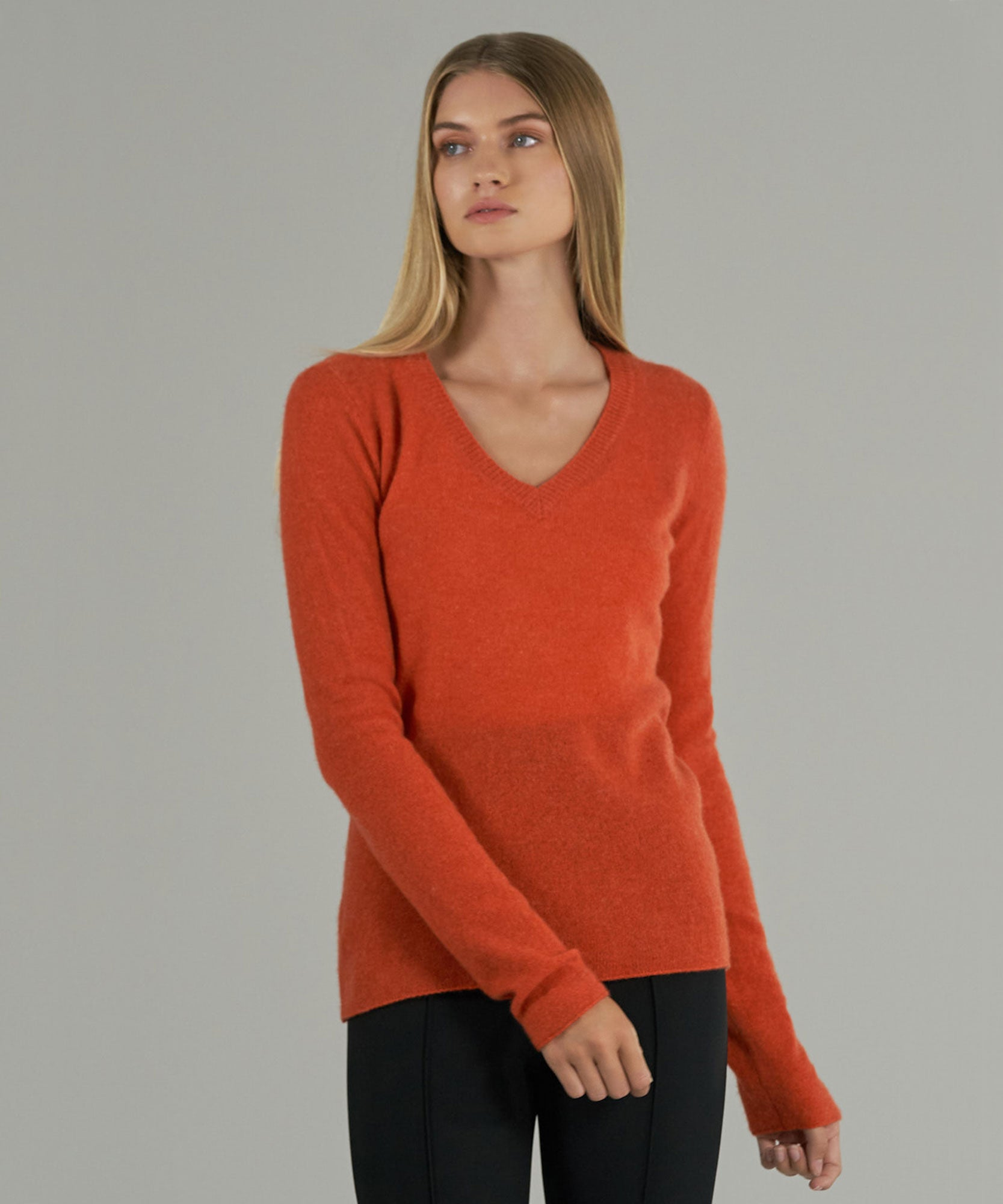 Tangerine Cashmere V-Neck Sweater - Women's Sweater by ATM Anthony Thomas Melillo