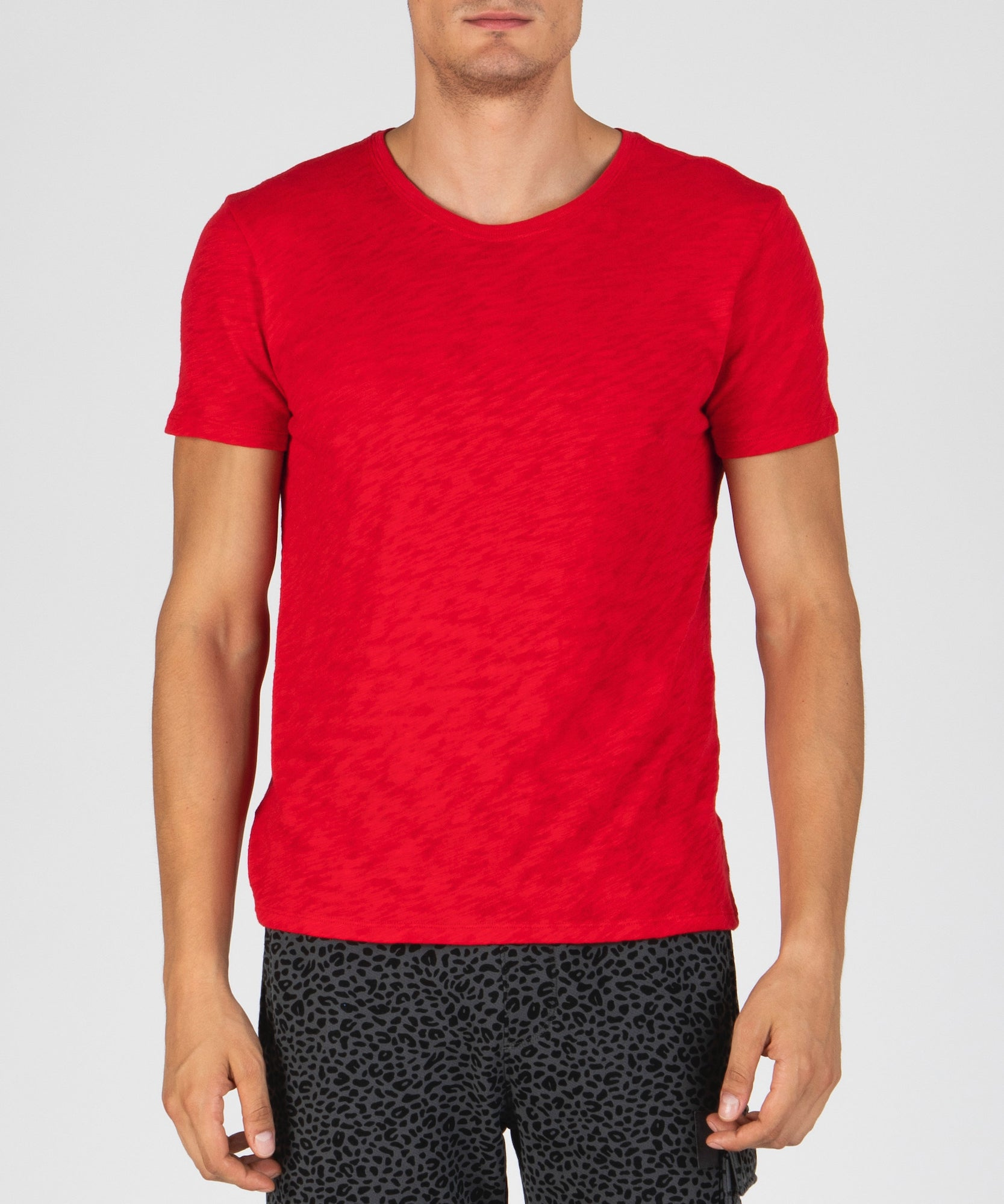 Tango Red Slub Jersey Crew Neck Tee - Men's Cotton Short Sleeve Tee by ATM Anthony Thomas Melillo