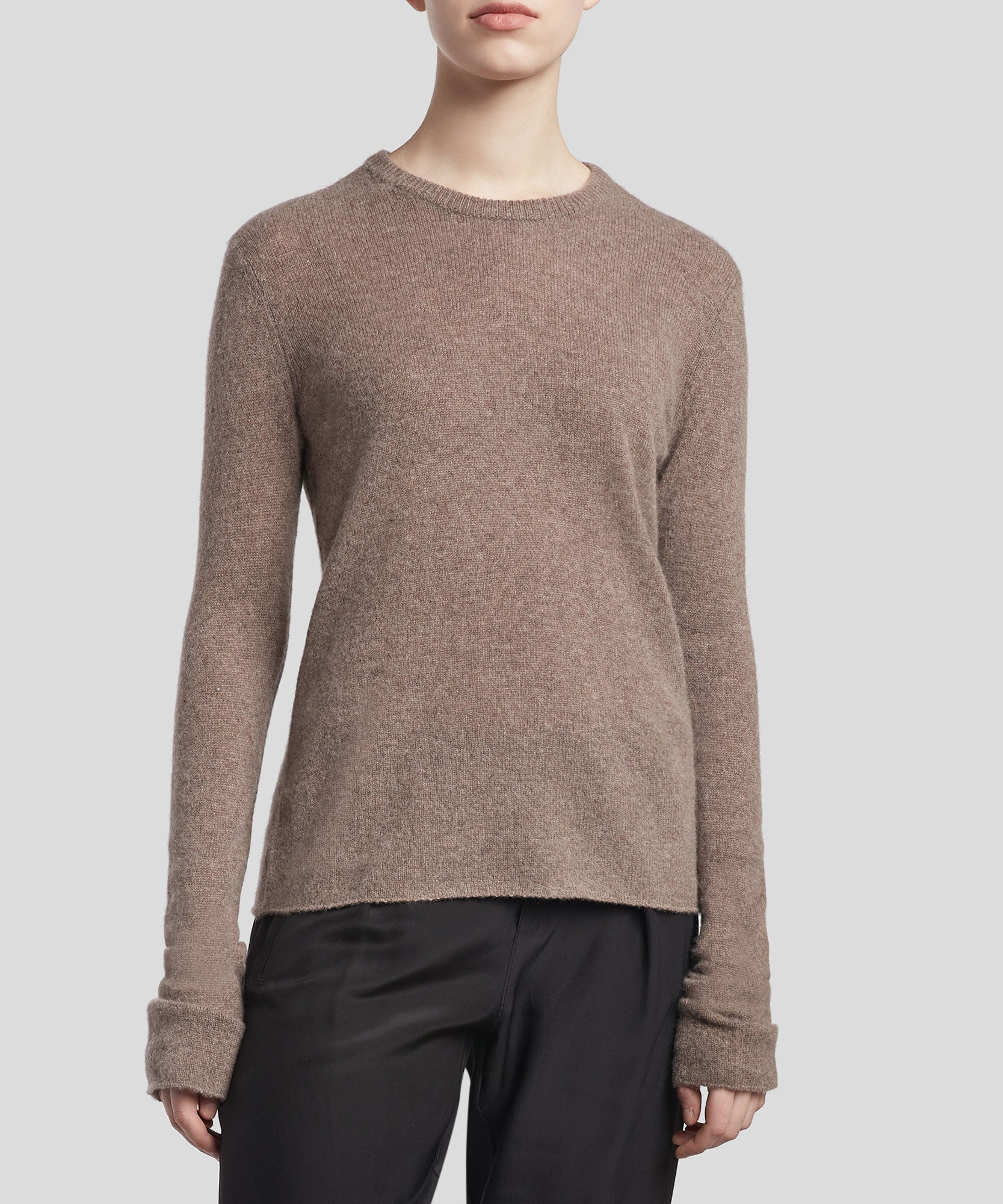 Truffle Cashmere Crew Neck Sweater - Women's Luxe Sweater by ATM Anthony Thomas Melillo