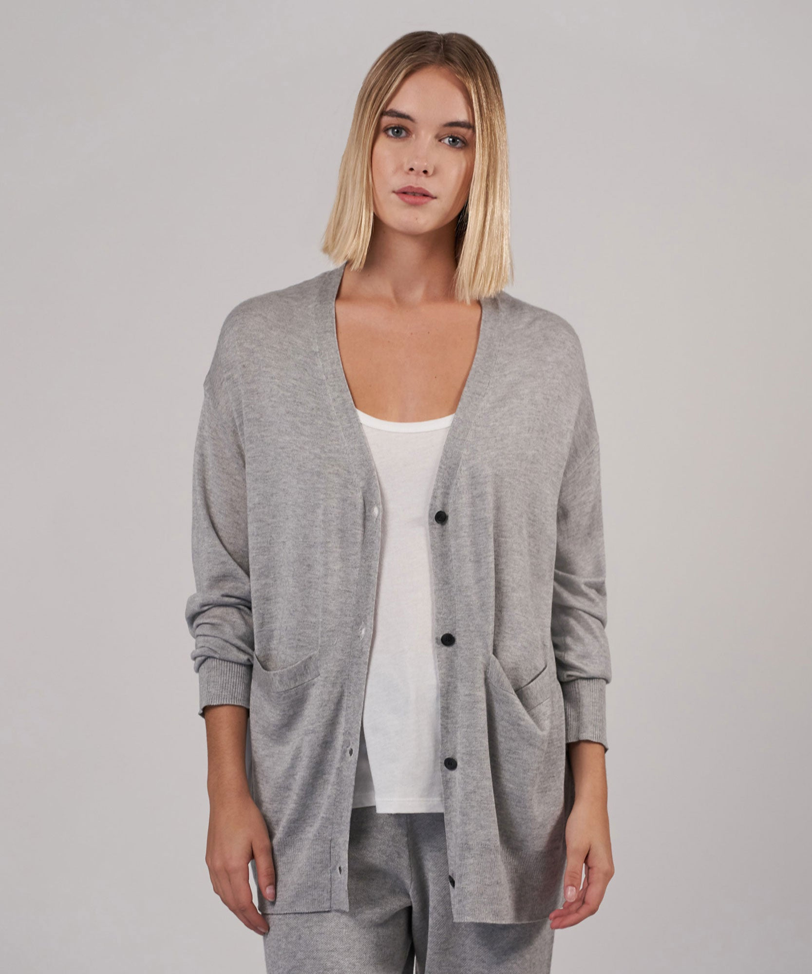 Vapor Cashmere Silk Cardigan - Women's Luxe Sweater by ATM Anthony Thomas Melillo