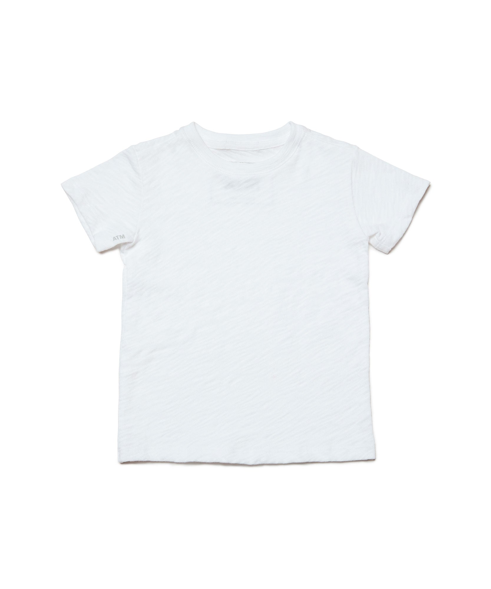 White Big Kids Slub Jersey Short Sleeve Tee - Kid's Cotton Short Sleeve Tee by ATM Anthony Thomas Melillo