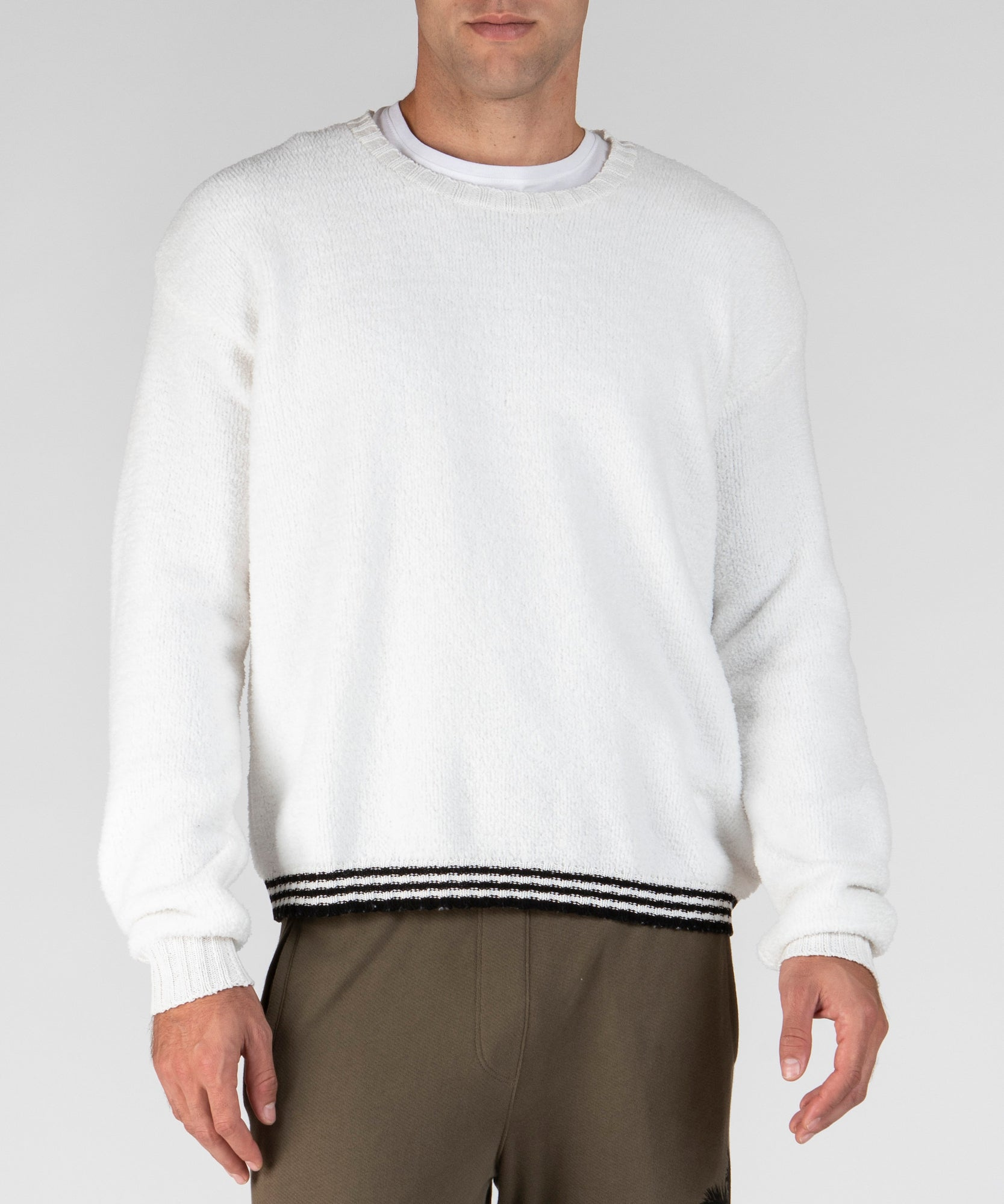 White and Black Chenille Crew Neck Sweater - Men's Luxe Sweater by ATM Anthony Thomas Melillo
