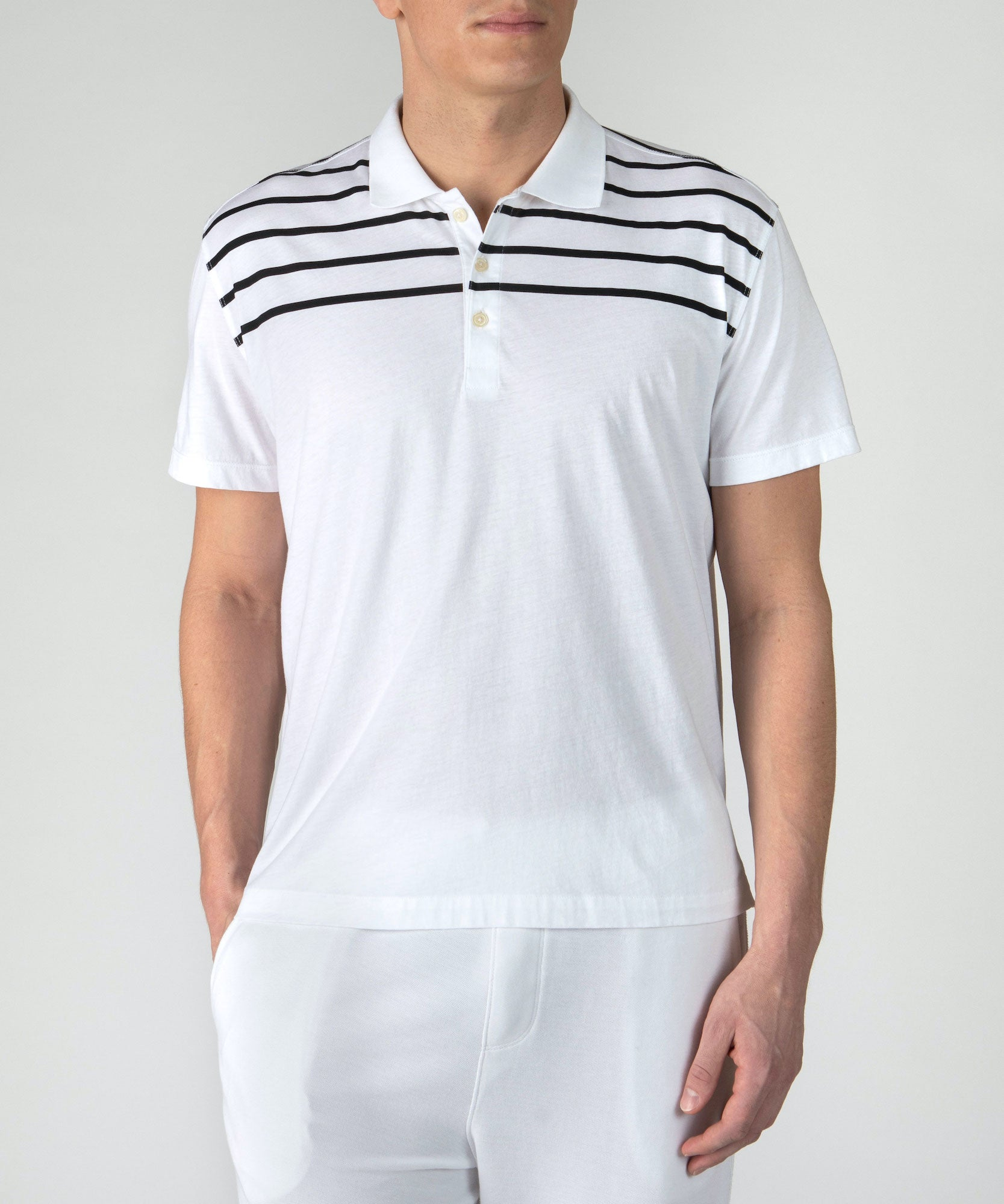 White and Black Striped Jersey Short Sleeve Polo - Men's Polo Shirt by ATM Anthony Thomas Melillo