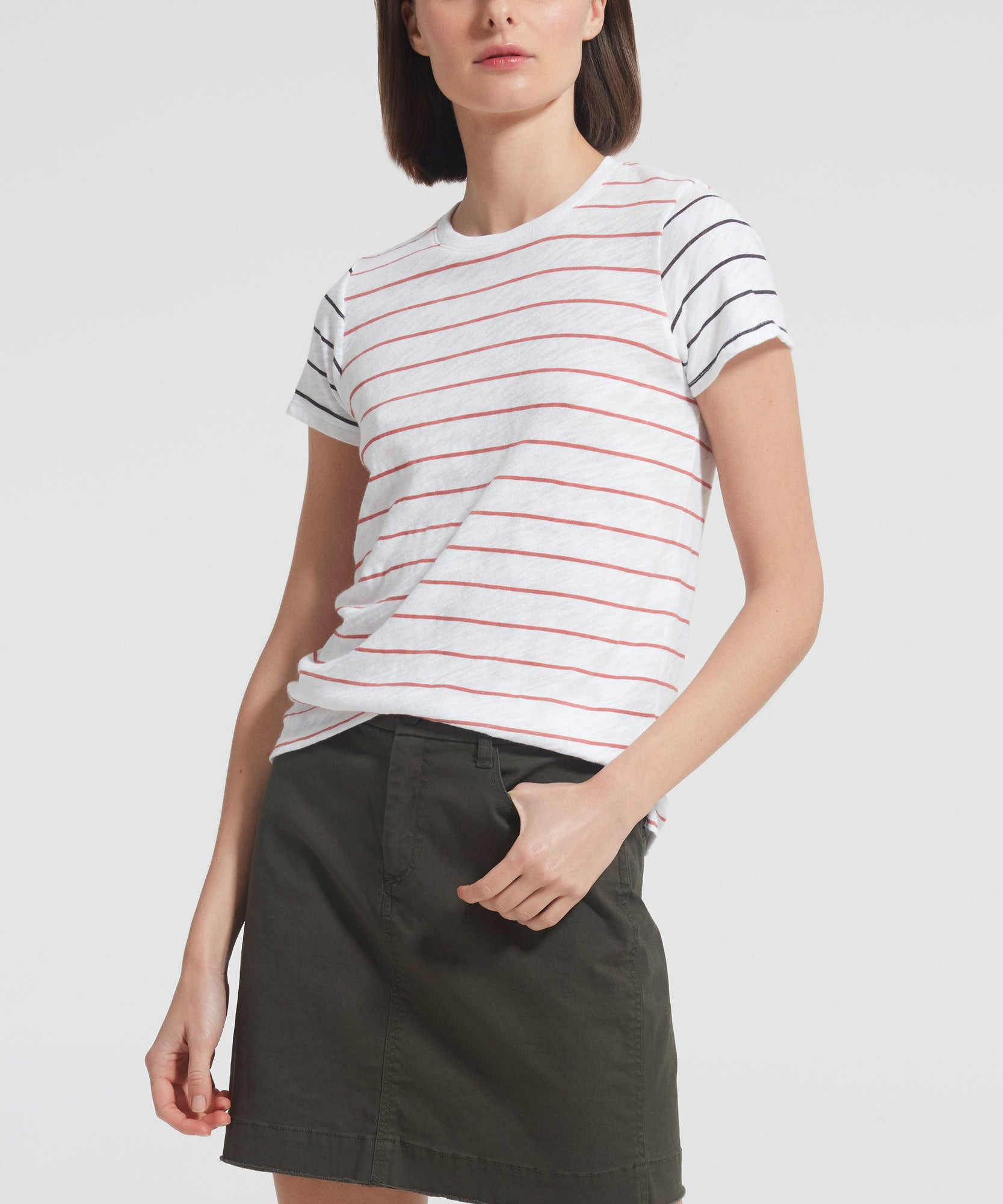 Striped Slub Jersey Schoolboy Crew Neck Tee - Women's Cotton Short Sleeve T-shirt by ATM Anthony Thomas Melillo