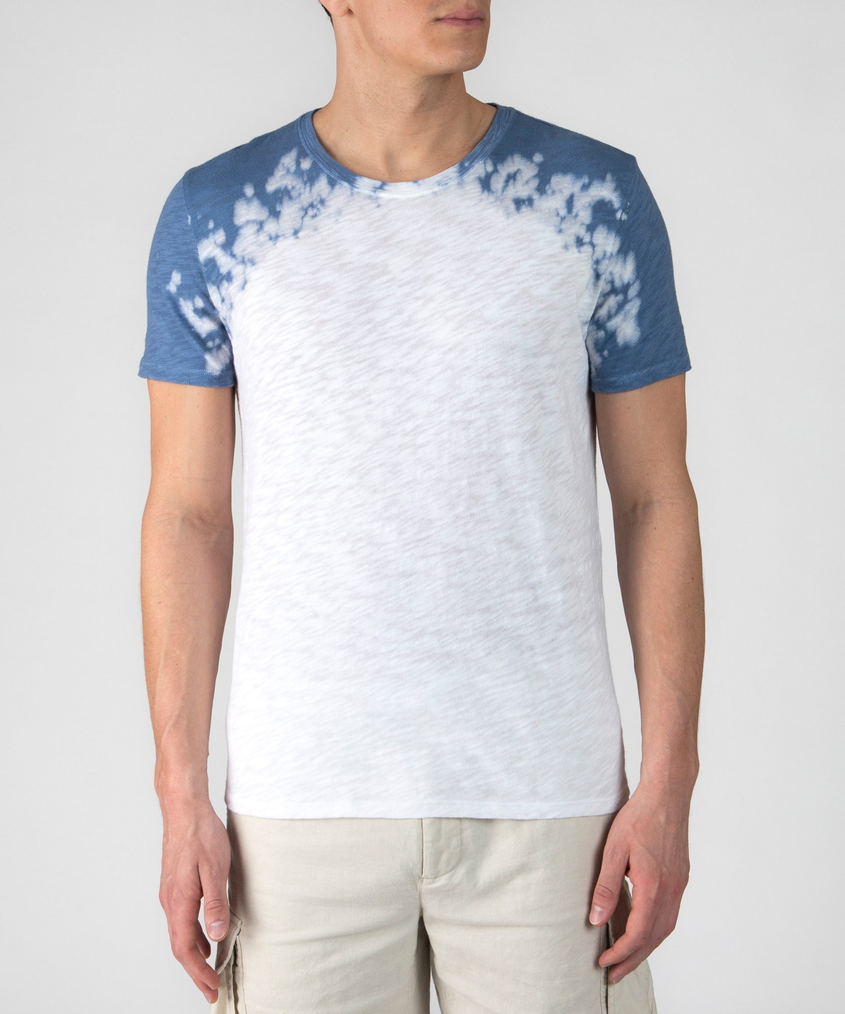 White and Chambray Blue Combo Dip Dye Slub Jersey Crew Neck Tee - Men's Cotton Short Sleeve Tee by ATM Anthony Thomas Melillo