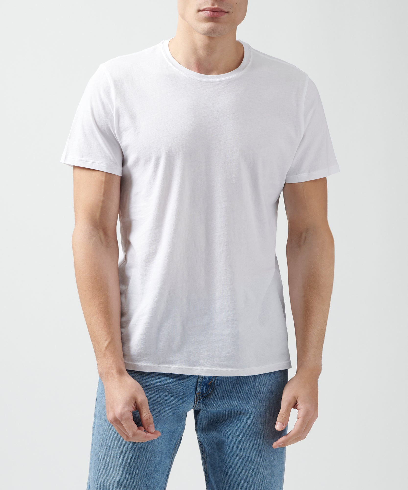 White Classic Jersey Crew Neck Tee - Men's Short Sleeve Tee by ATM Anthony Thomas Melillo
