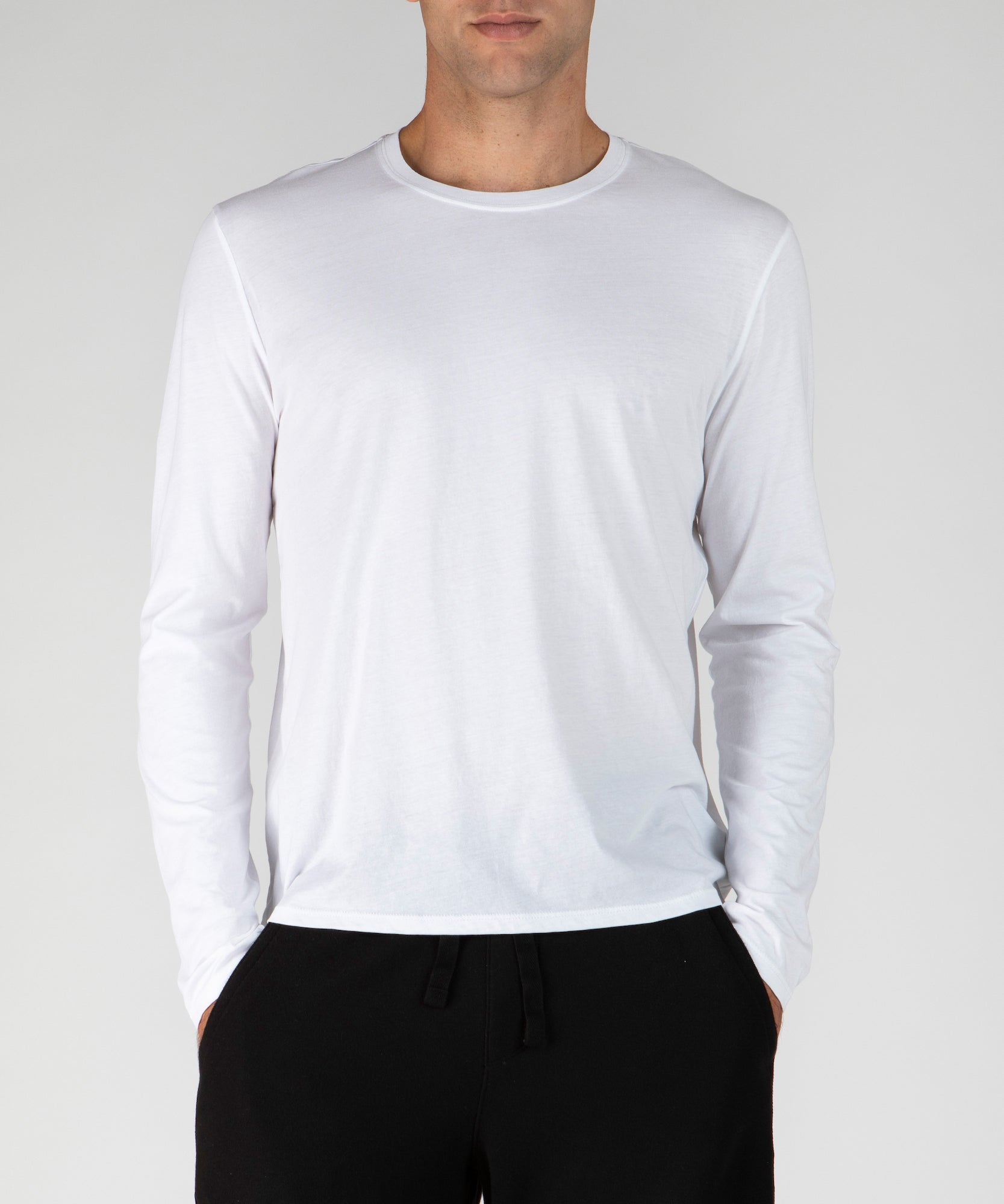 White Classic Jersey Long Sleeve Crew Neck Tee - Men's Cotton Long Sleeve Tee by ATM Anthony Thomas Melillo
