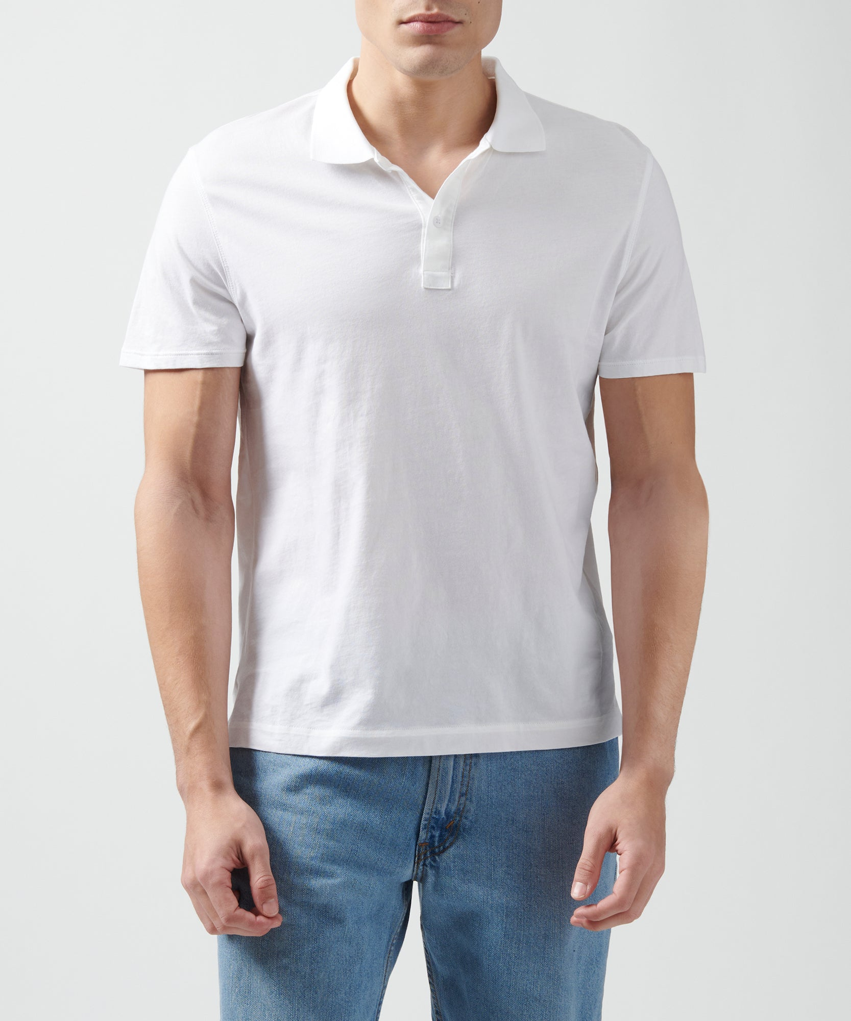 White Classic Jersey Short Sleeve Polo - Men's Polo Shirt by ATM Anthony Thomas Melillo