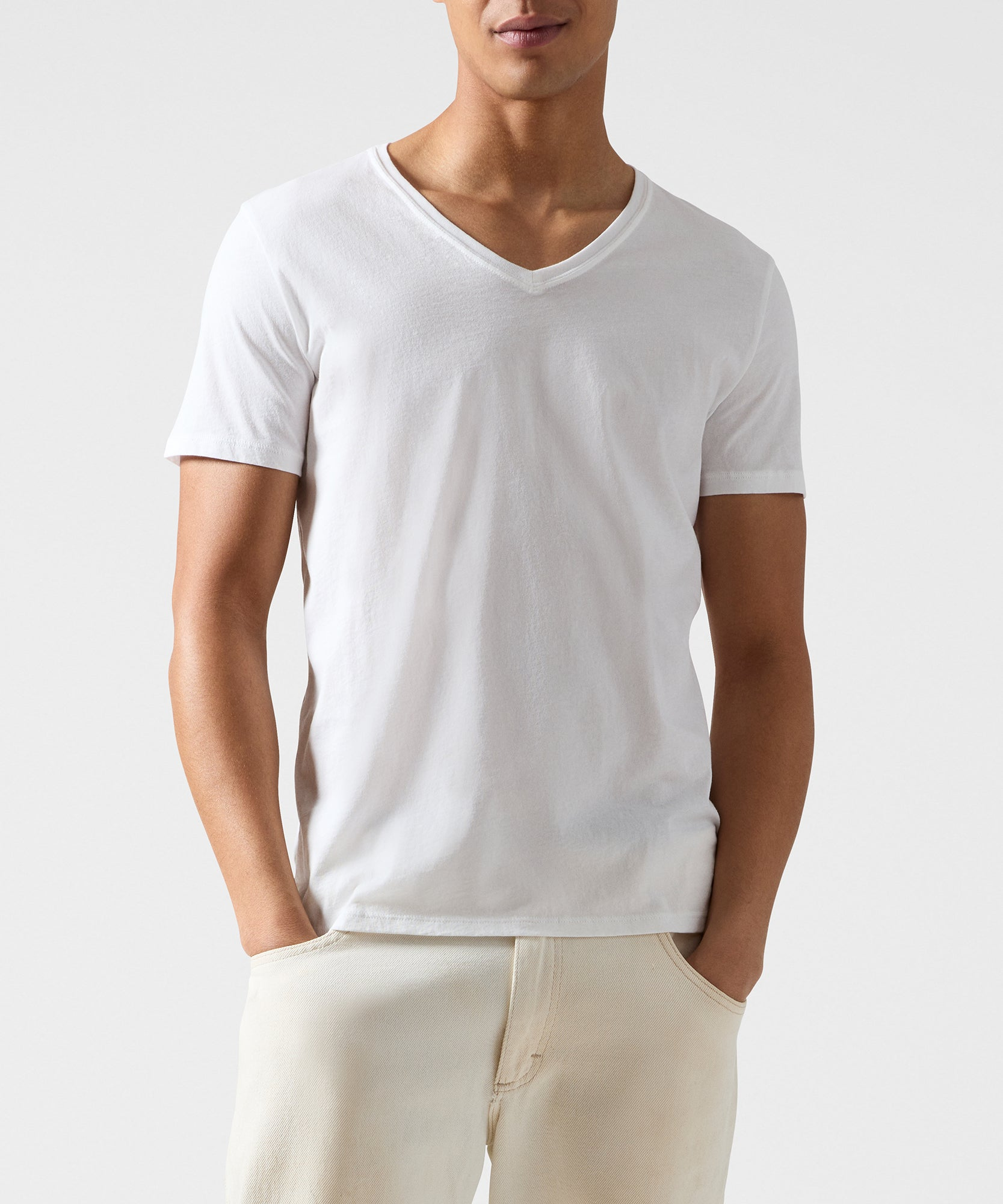 White Classic Jersey V-Neck Tee - Men's Cotton Short Sleeve T-shirt by ATM Anthony Thomas Melillo