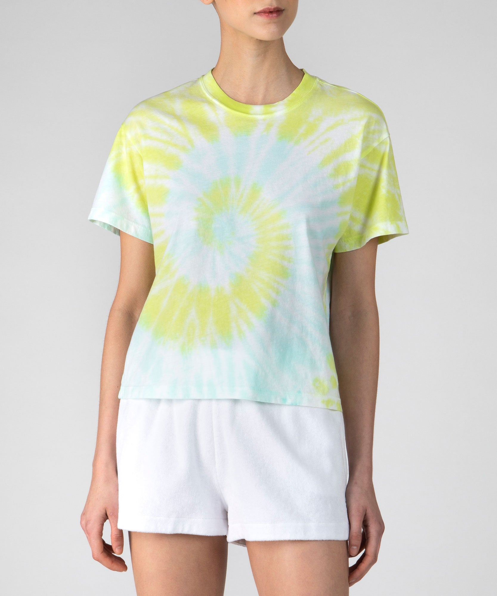 White Tie Dye Combo Classic Jersey Short Sleeve Boy Tee - Women's Cotton Short Sleeve T-shirt by ATM Anthony Thomas Melillo