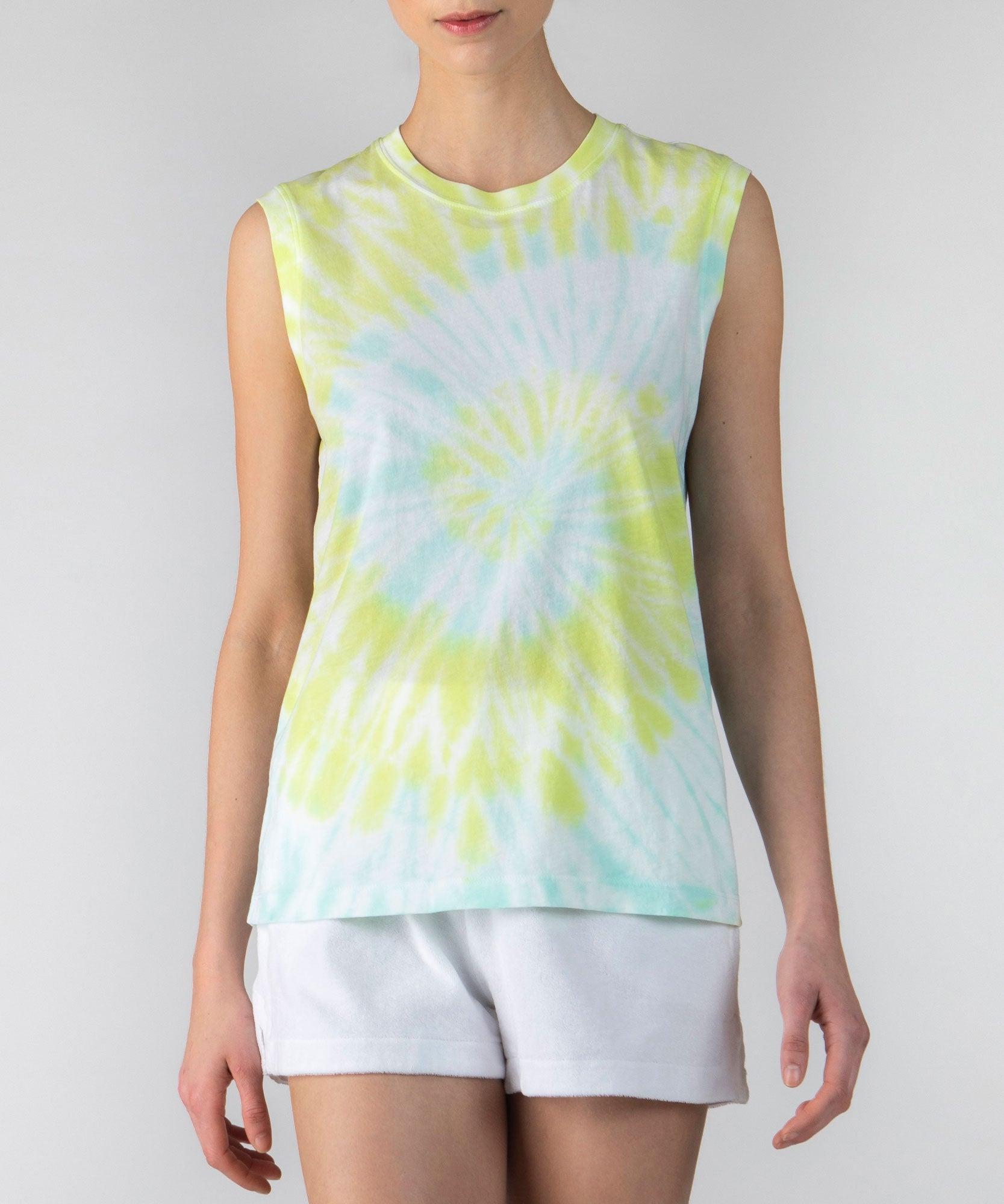 White Tie Dye Combo Classic Jersey Sleeveless Boy Tee - Women's Cotton Sleeveless T-shirt by ATM Anthony Thomas Melillo