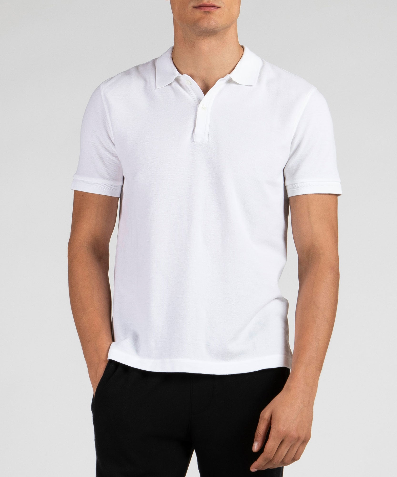 White Cotton Pique Classic Polo - Men's Polo Shirt by ATM Anthony Thomas Melillo
