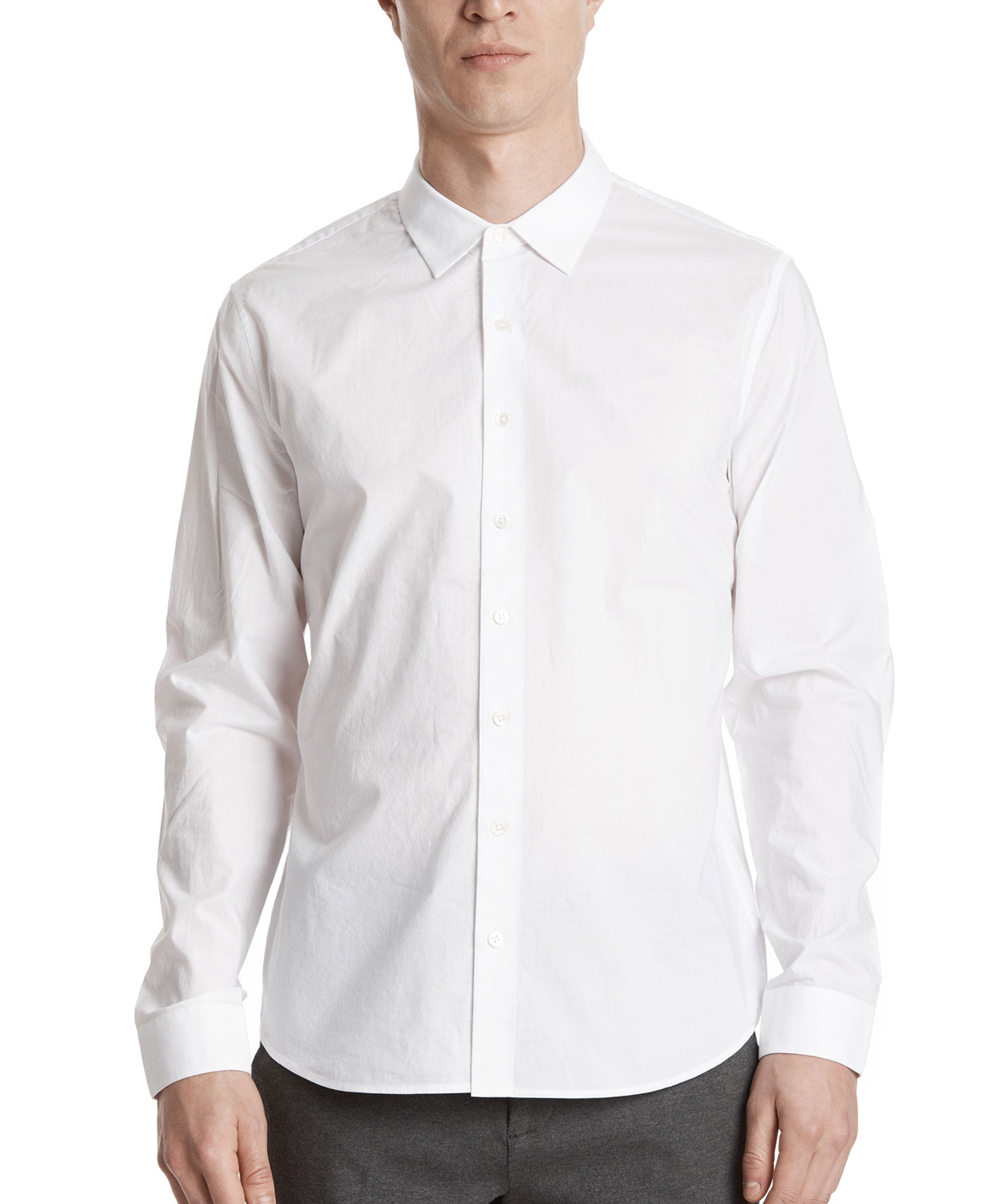 White Cotton Poplin Classic Dress Shirt - Men's Cotton Long Sleeve Shirt by ATM Anthony Thomas Melillo