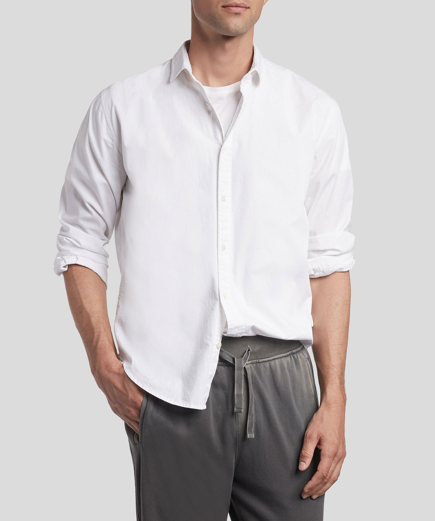 White Cotton Poplin Shirt - Men's Cotton Button Down Shirt by ATM Anthony Thomas Melillo