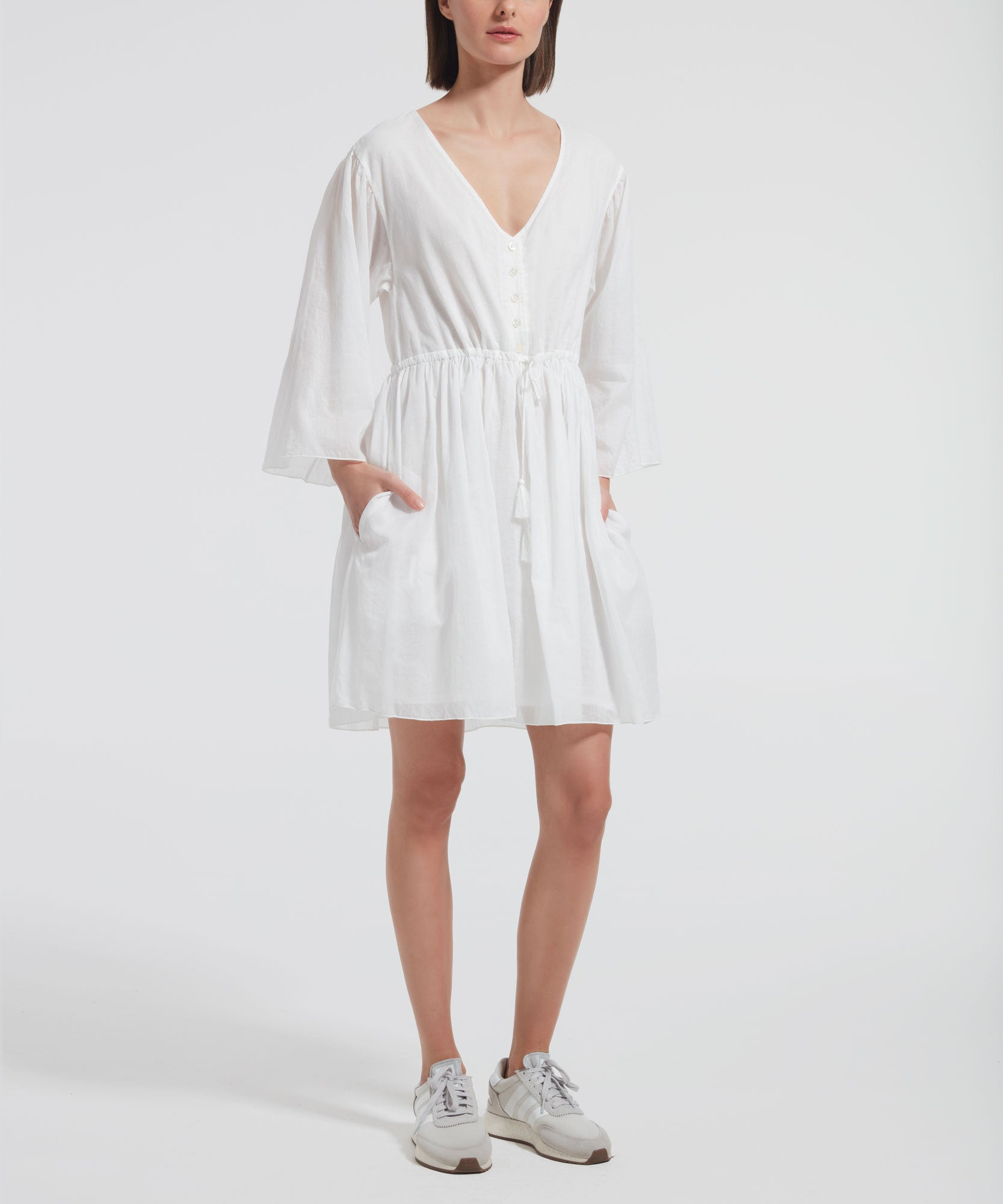 White Crinkle Cotton Long Sleeve V-Neck Dress - Women's Dress by ATM Anthony Thomas Melillo