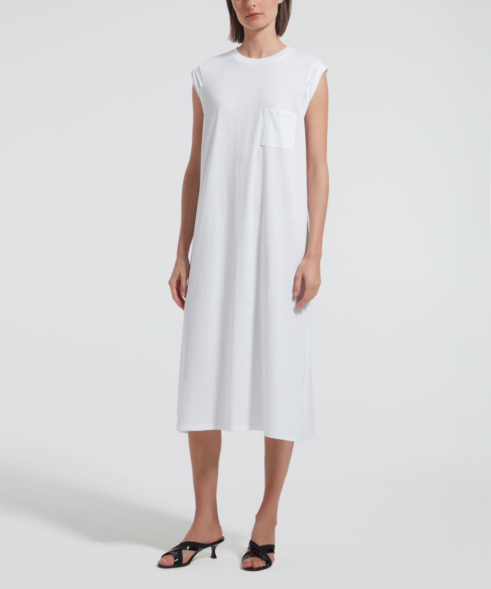 White High Torsion Rolled Cuff Dress - Women's Sleeveless Dress by ATM Anthony Thomas Melillo