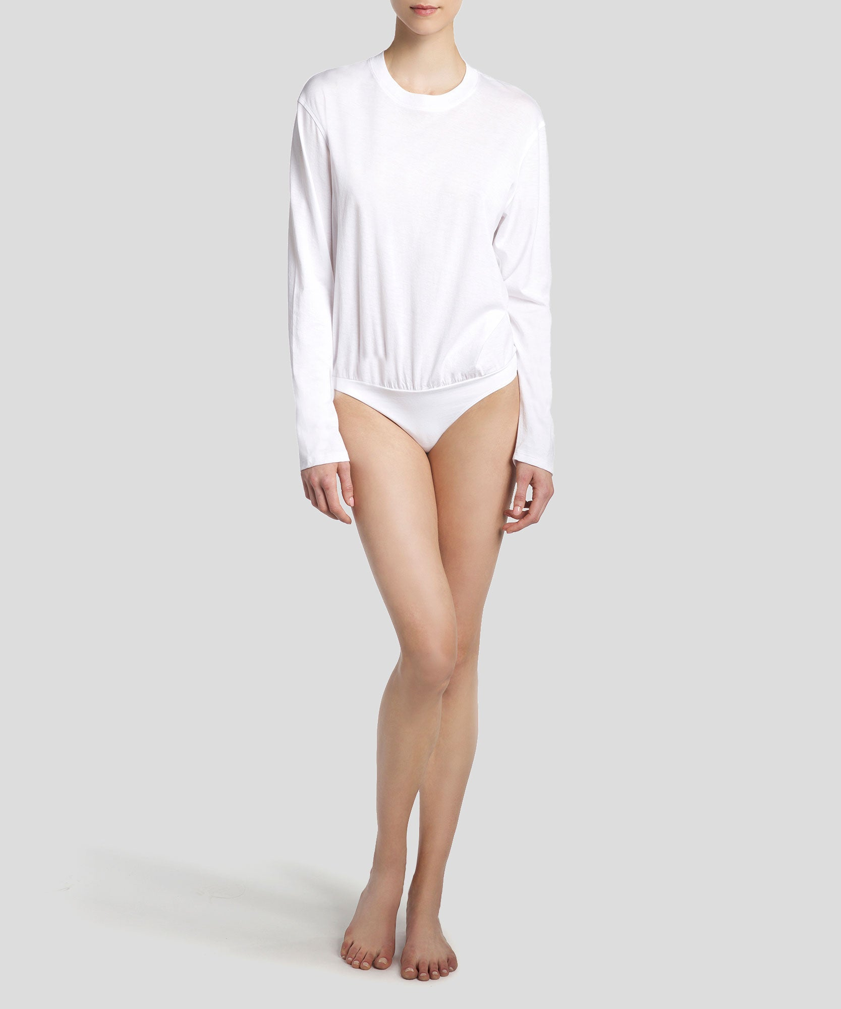White Long Sleeve Boy Tee Bodysuit - Women's Cotton Bodysuit ATM Anthony Thomas Melillo
