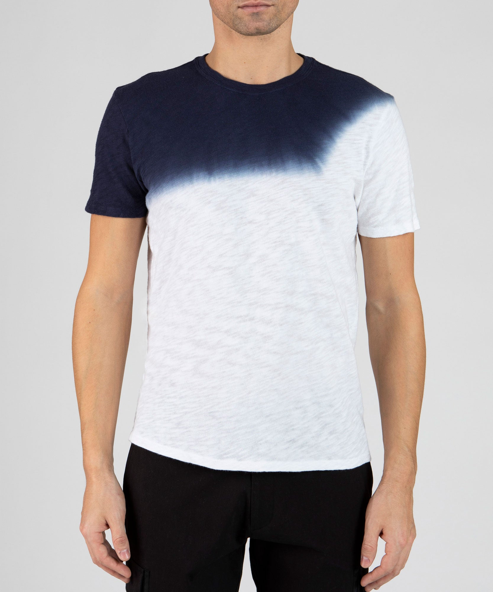 White and Midnight Slub Jersey Dip Dye Crew Neck Tee - Men's Cotton Short Sleeve Tee by ATM Anthony Thomas Melillo