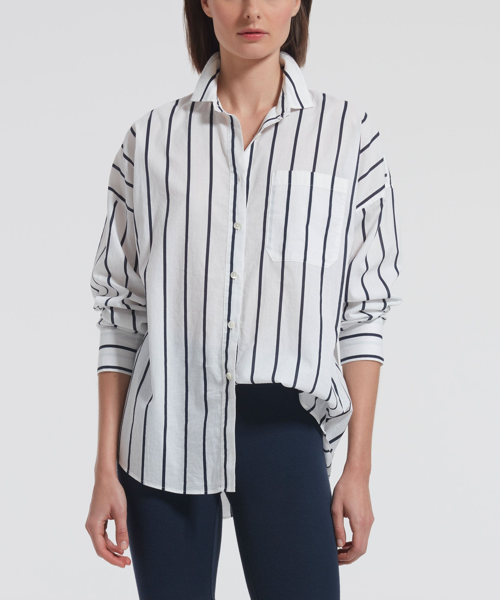 White and Midnight Stripe Cotton Linen Boyfriend Shirt - Women's Button Down Shirt by ATM Anthony Thomas Melillo