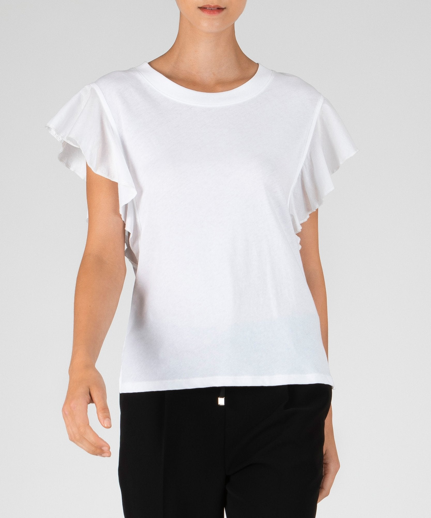 White Mixed Media Fluted Sleeve Tee - Women's Cotton Top by ATM Anthony Thomas Melillo
