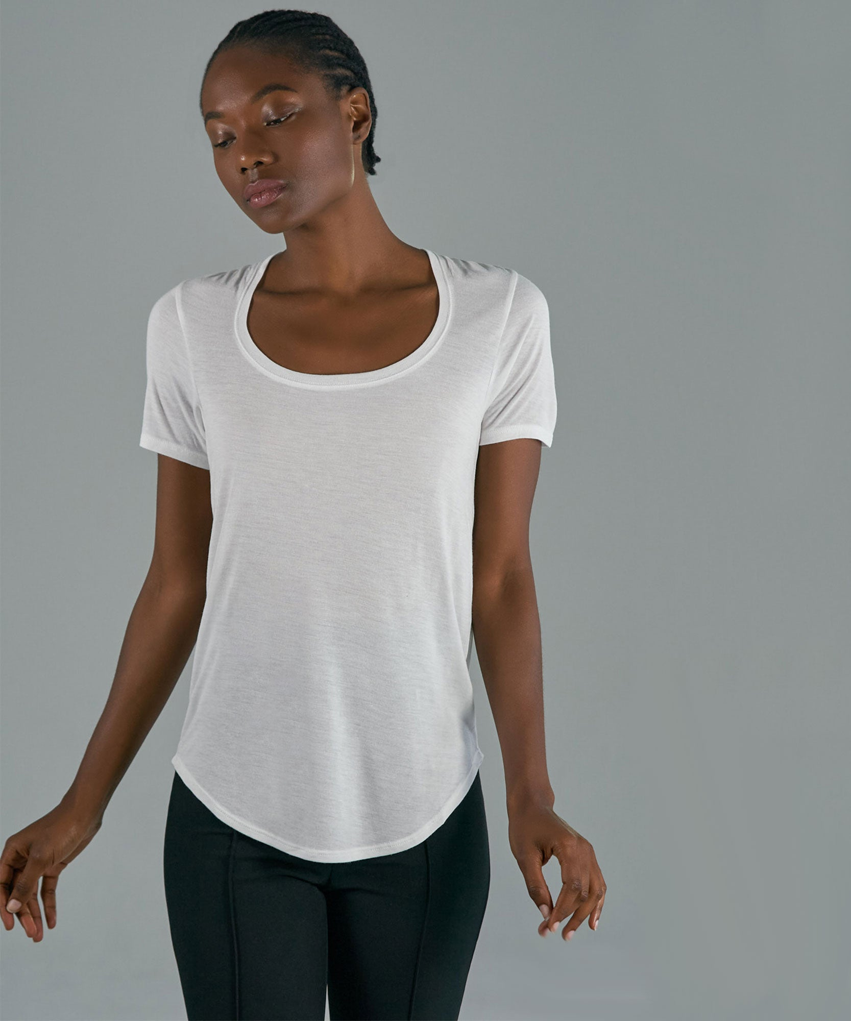 White Modal Jersey Sweetheart Tee - Women's Jersey Tee by ATM Anthony Thomas Melillo