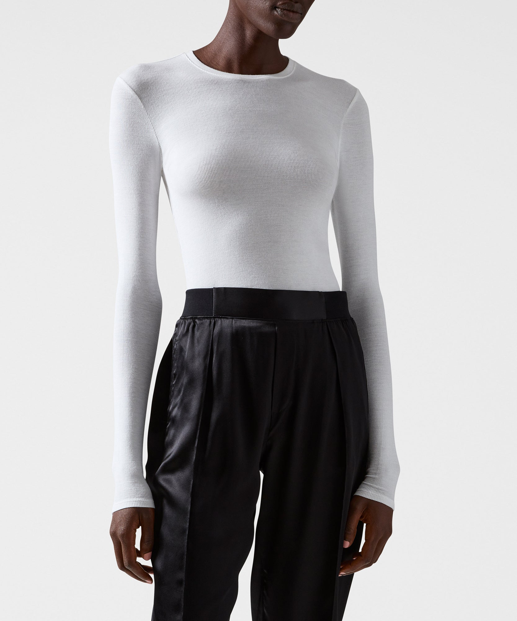 White Modal Rib Long Sleeve Crew - Women's Ribbed Tee ATM Anthony Thomas Melillo