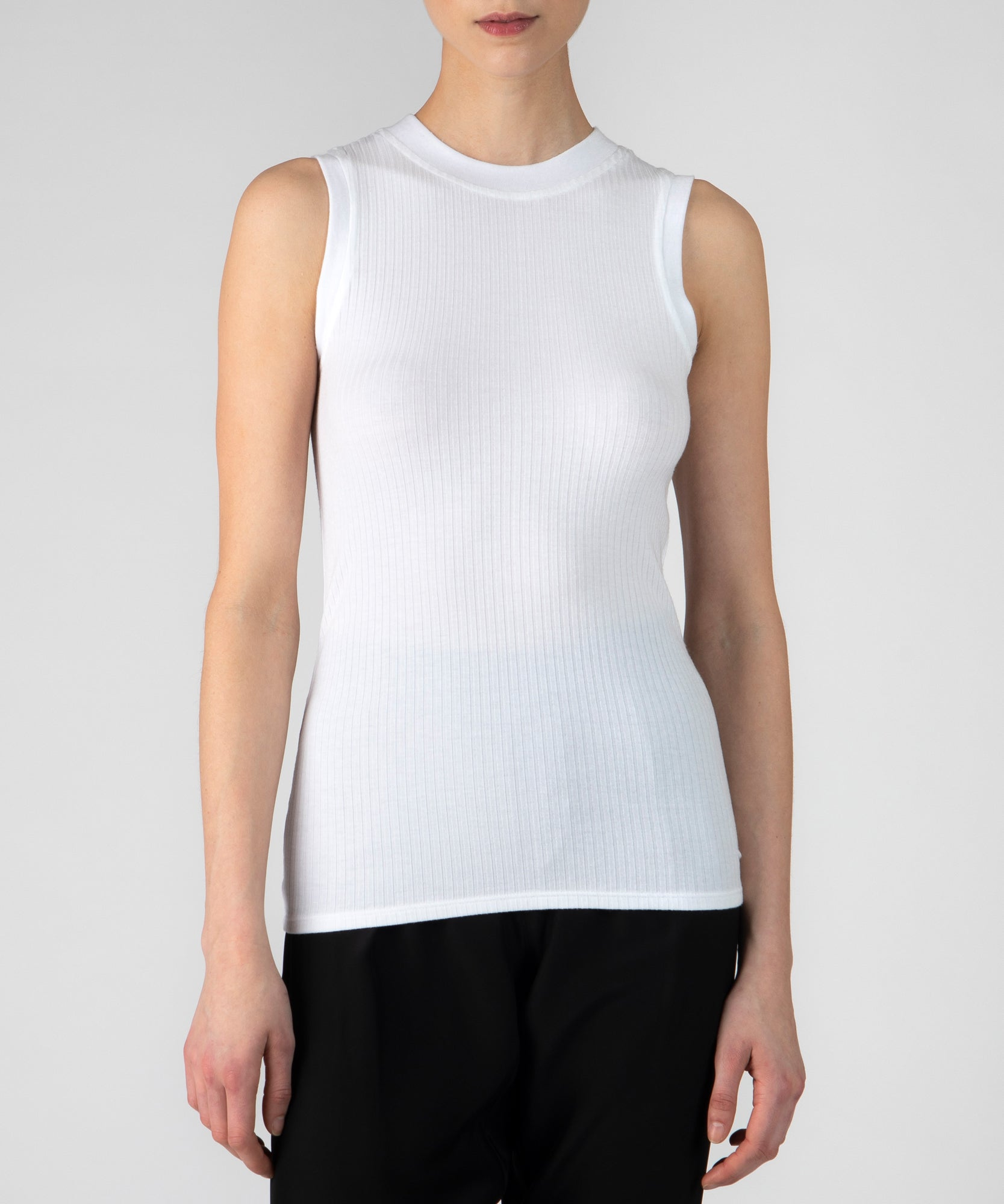 White Modal Wide Rib Sleeveless Top - Women's Top by ATM Anthony Thomas Melillo