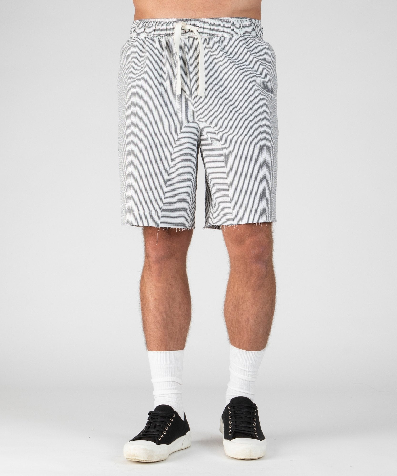 White and Navy Stripe Seersucker Pull-On Shorts - Men's Luxe Shorts by ATM Anthony Thomas Melillo