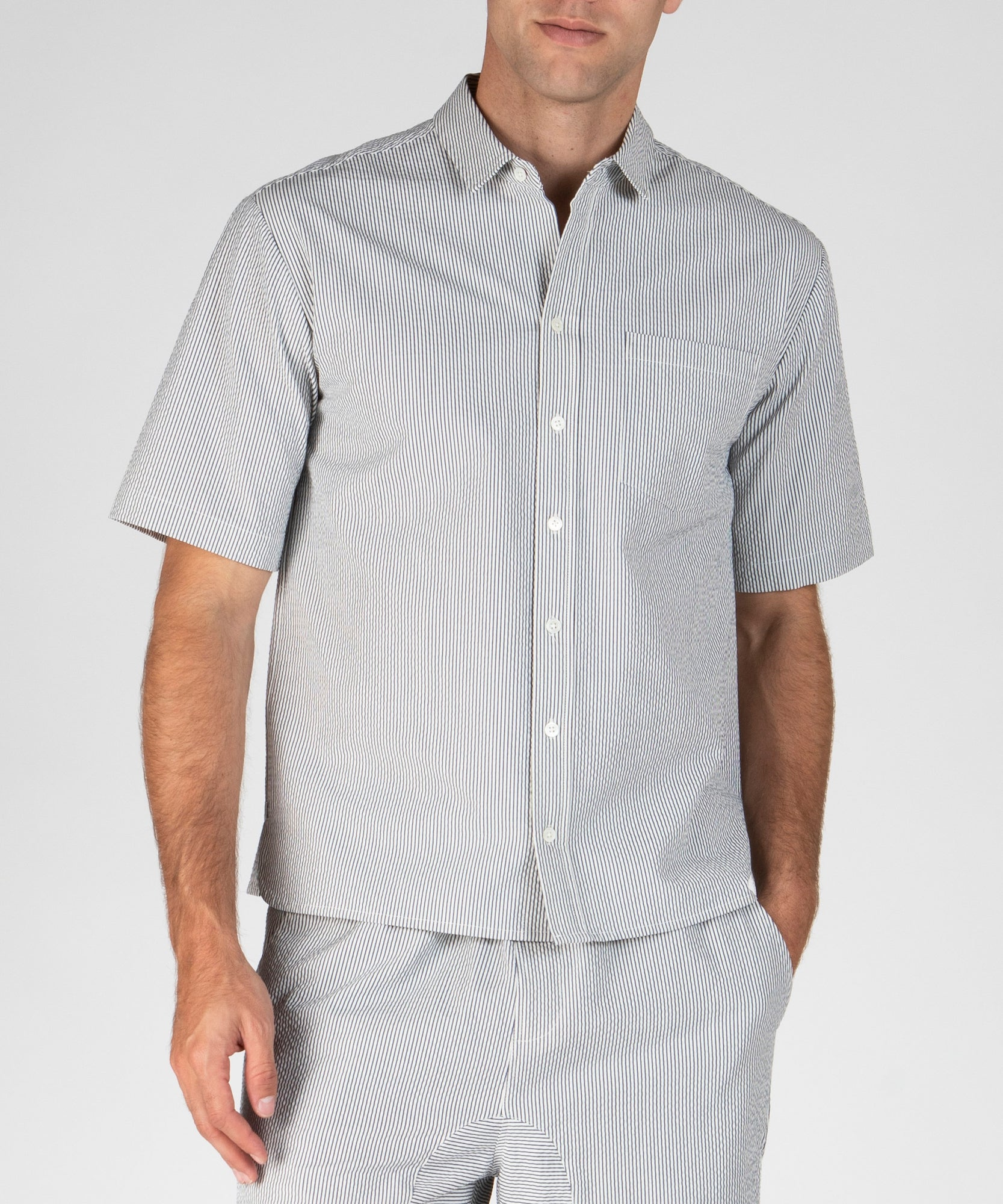 White and Navy Stripe Seersucker Short Sleeve Shirt - Men's Cotton Long Sleeve Shirt by ATM Anthony Thomas Melillo