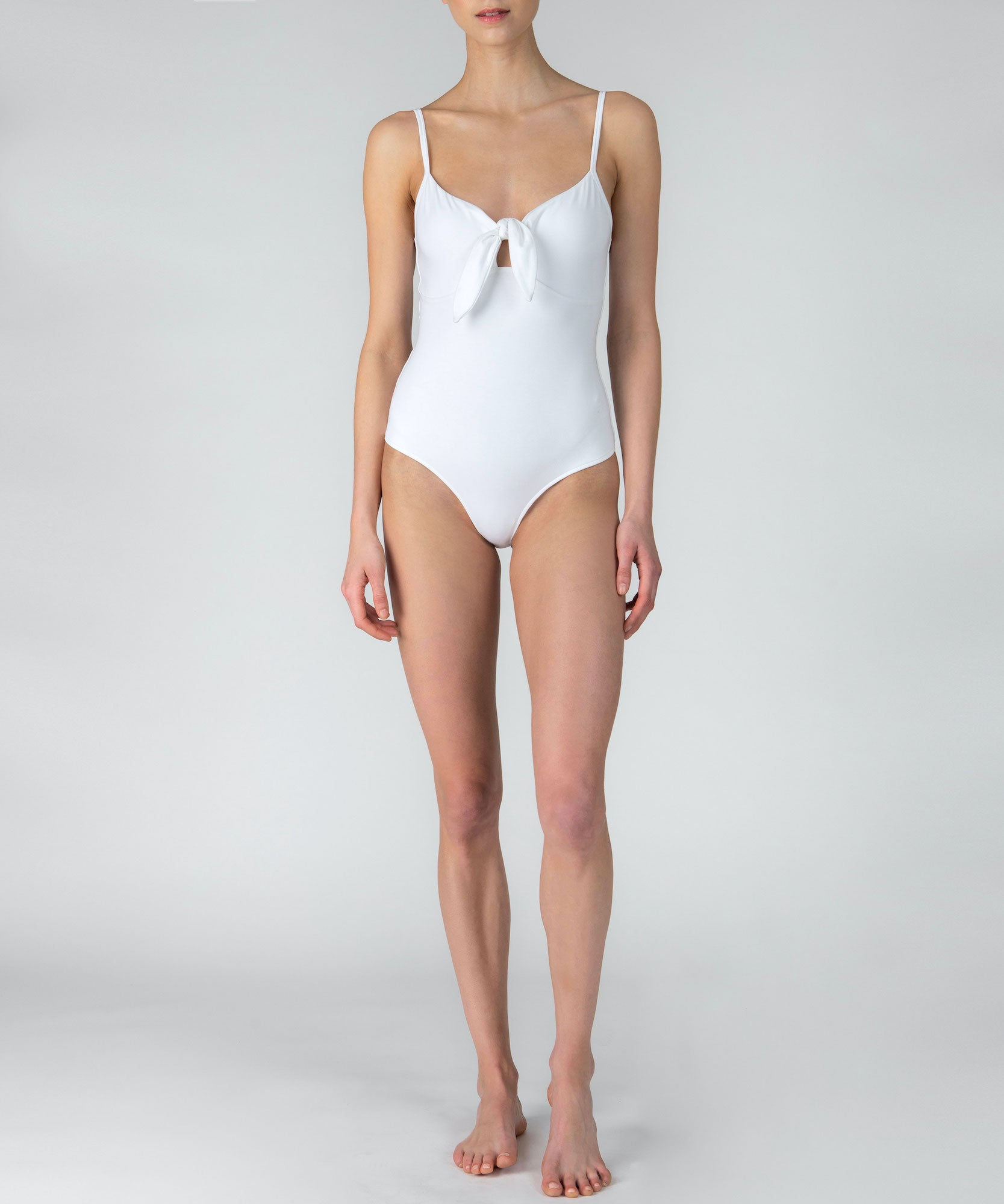 White Pima Cotton Knot Front Bodysuit - Women's Ribbed Bodysuit by ATM Anthony Thomas Melillo