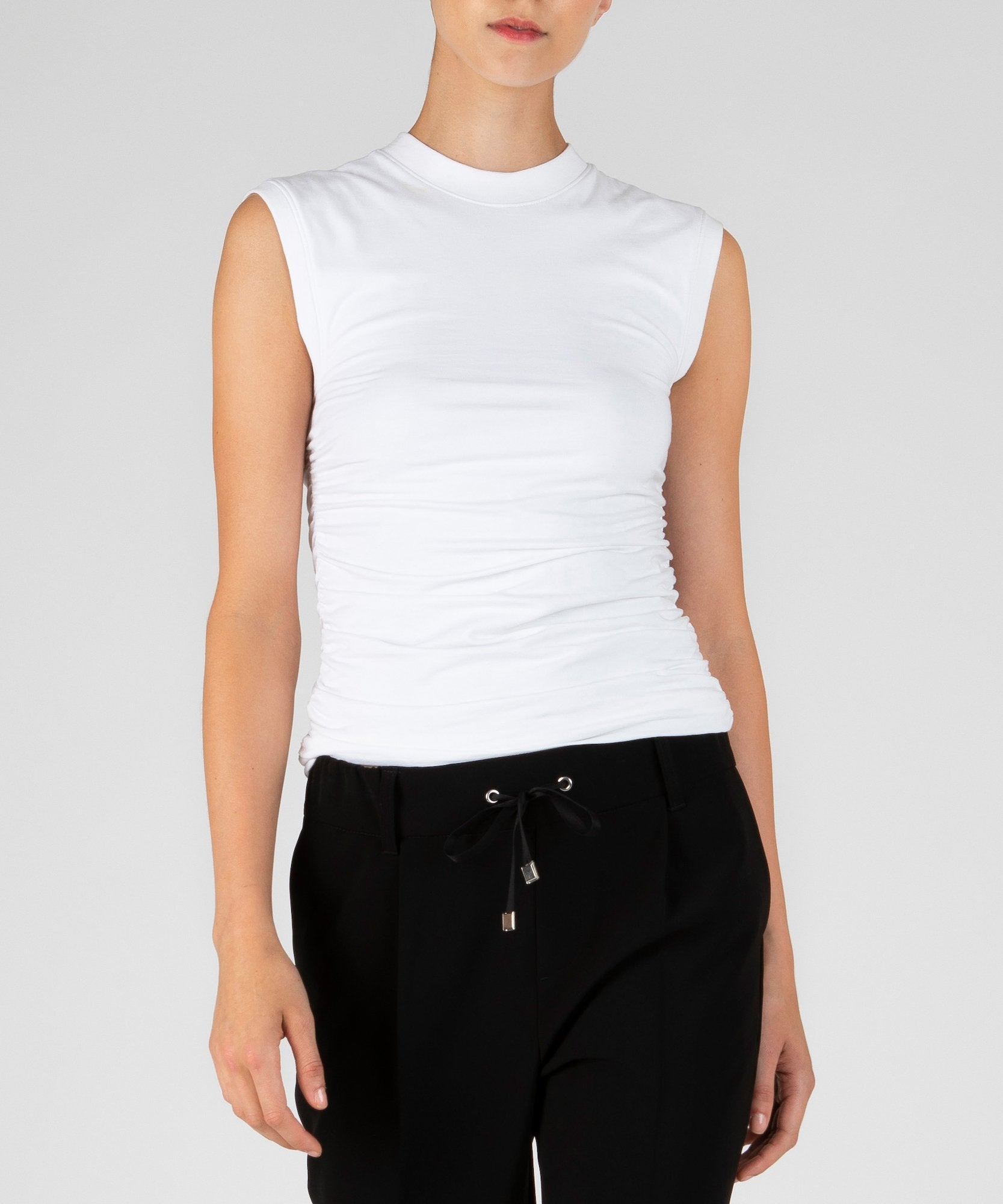 White Pima Cotton Ruched Sleeveless Top - Women's Cotton Top by ATM Anthony Thomas Melillo