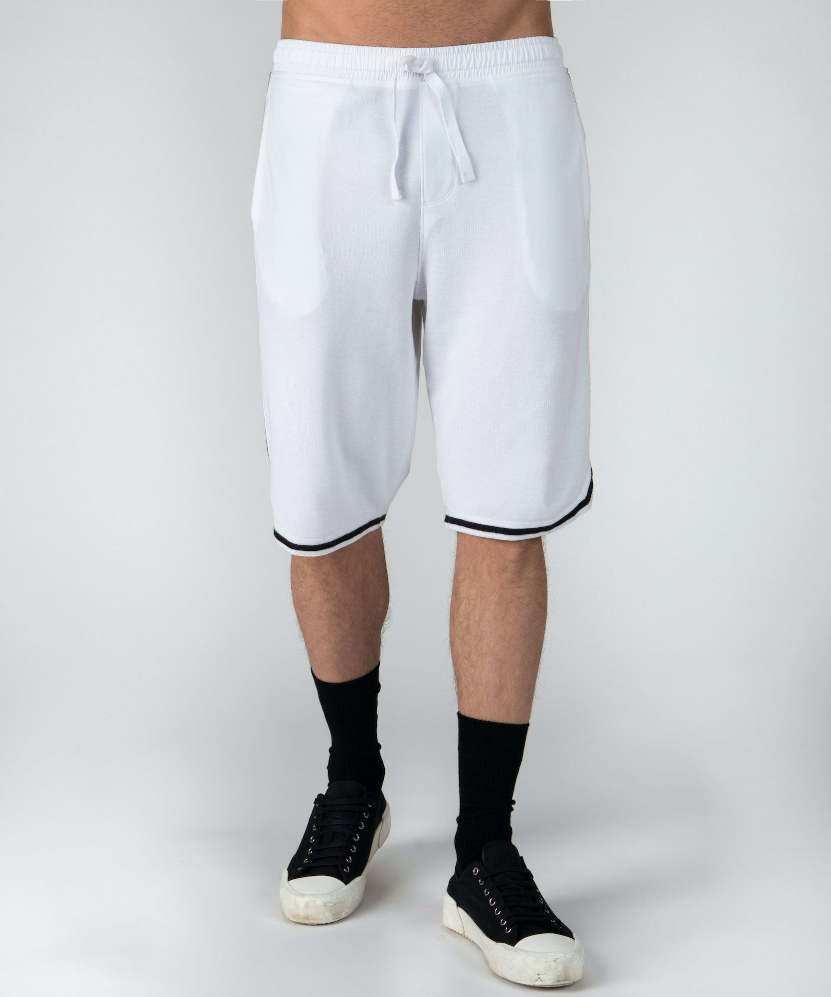 White Pique Basketball Shorts - Men's Luxe Loungewear by ATM Anthony Thomas Melillo