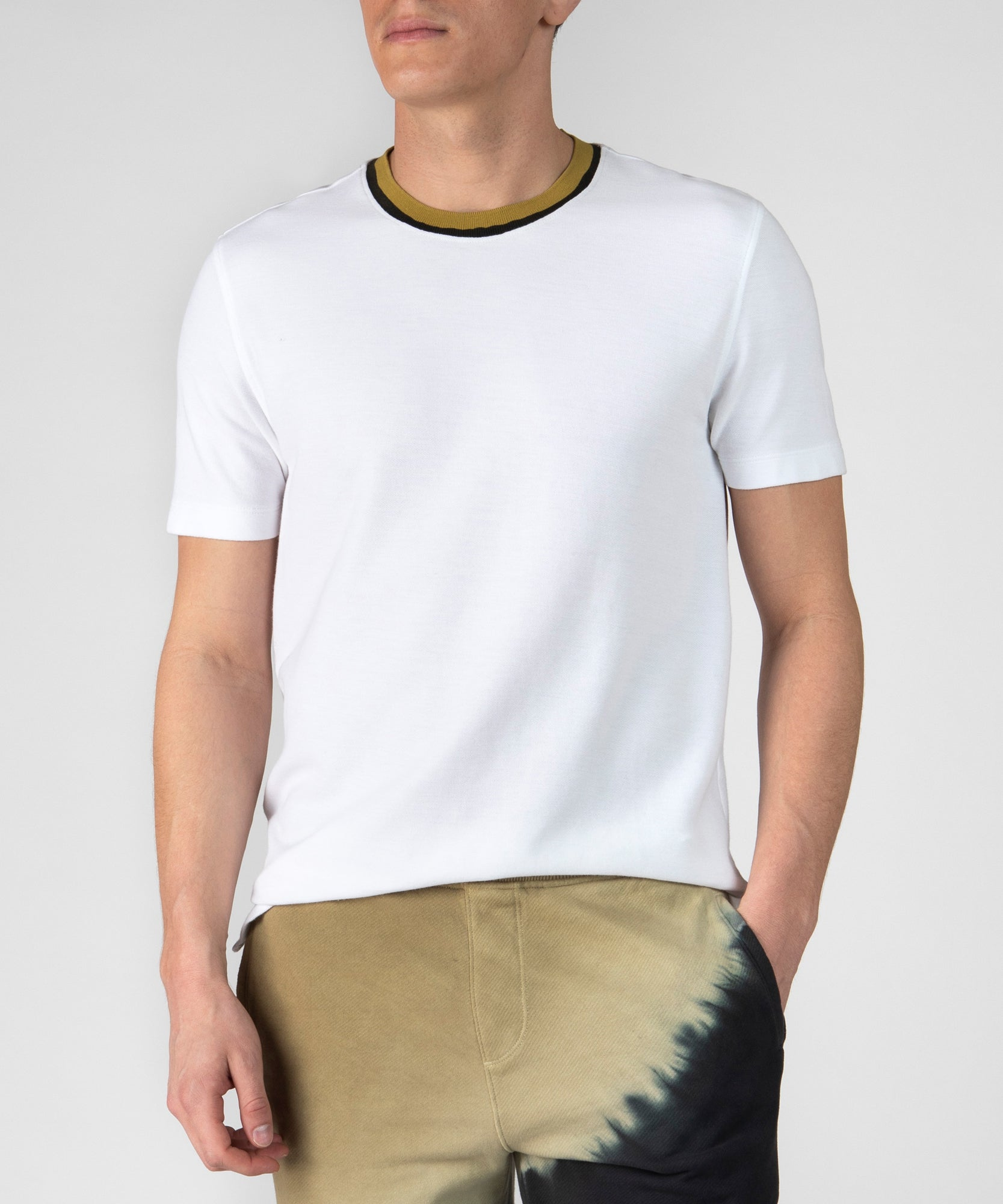 White Pique Hand Painted Crew Neck Tee- Men's Cotton Short Sleeve T-shirt by ATM Anthony Thomas Melillo