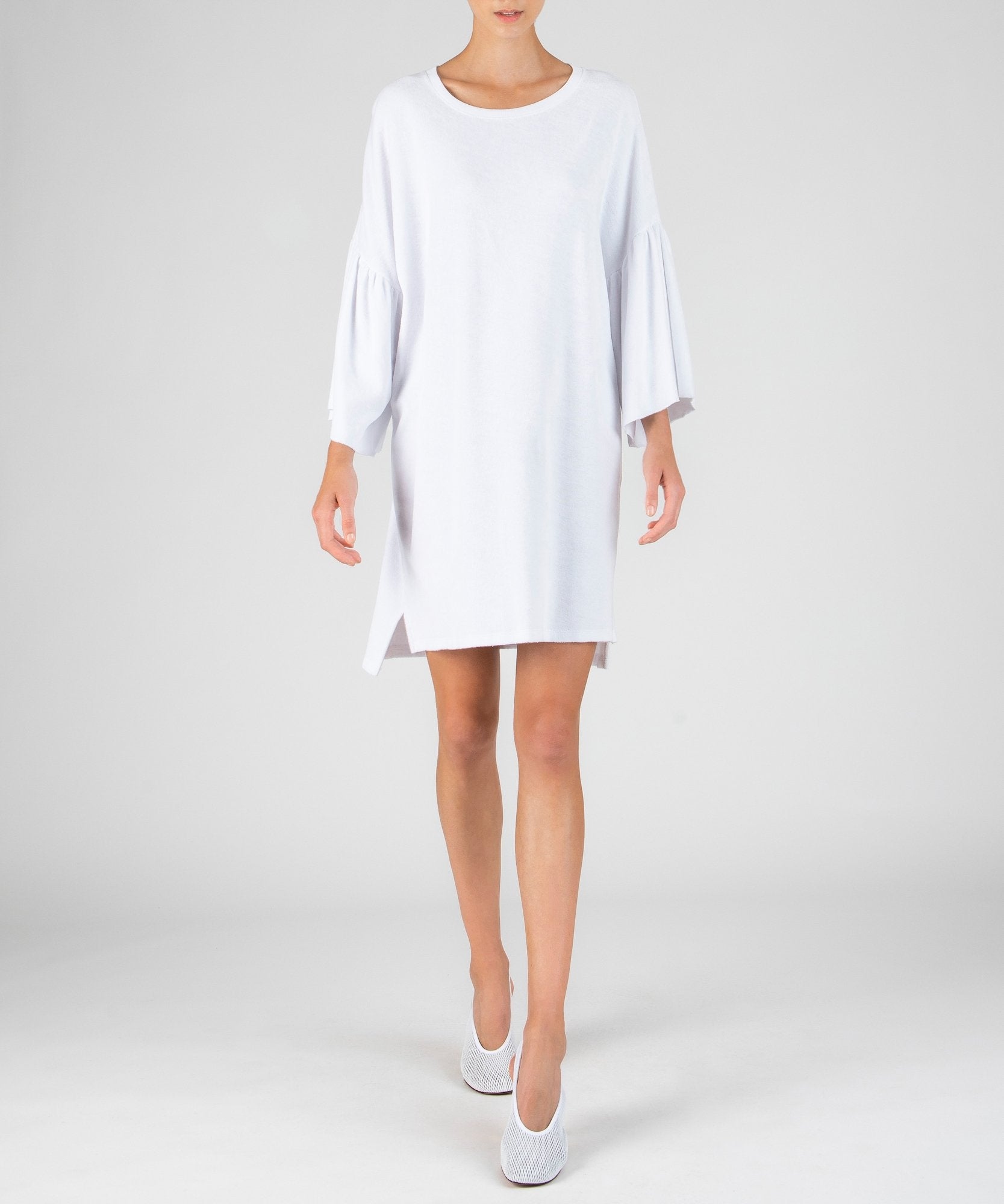 White Ruffle Sleeve Dress - Women's Casual Dress by ATM Anthony Thomas Melillo