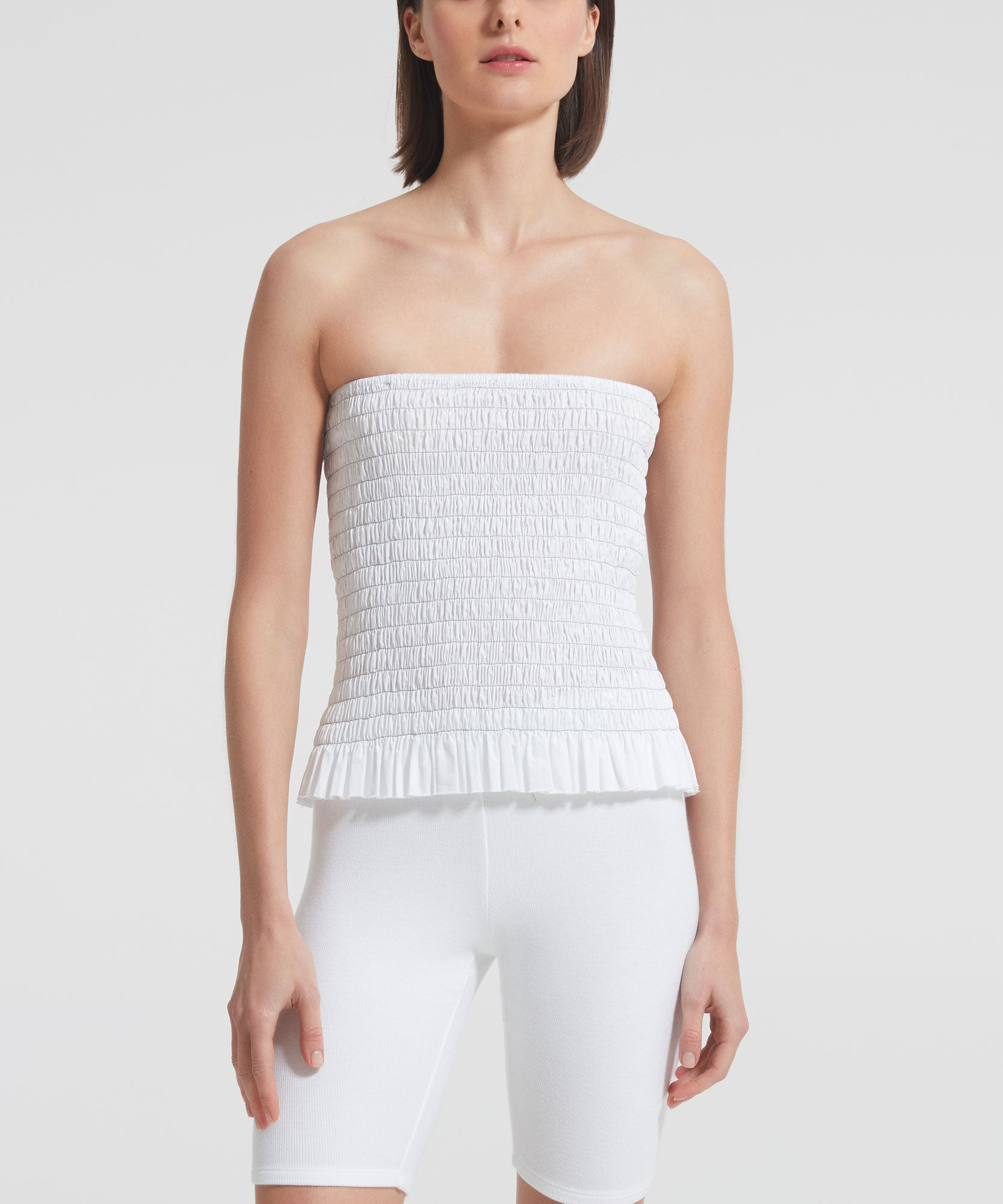 White Shirred Cotton Poplin Bustier Top - Women's Cotton Poplin Strapless Top by ATM Anthony Thomas Melillo