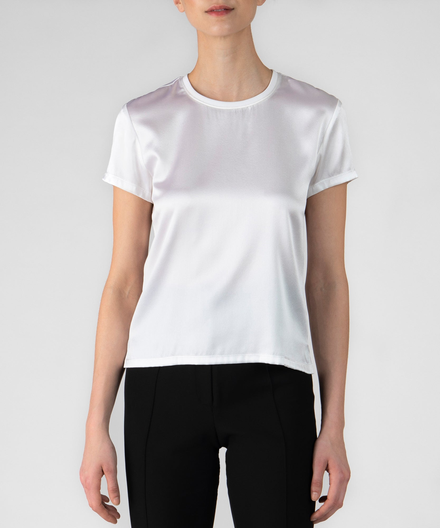 White Silk Blend Crew Neck Tee - Women's Luxe Top by ATM Anthony Thomas Melillo