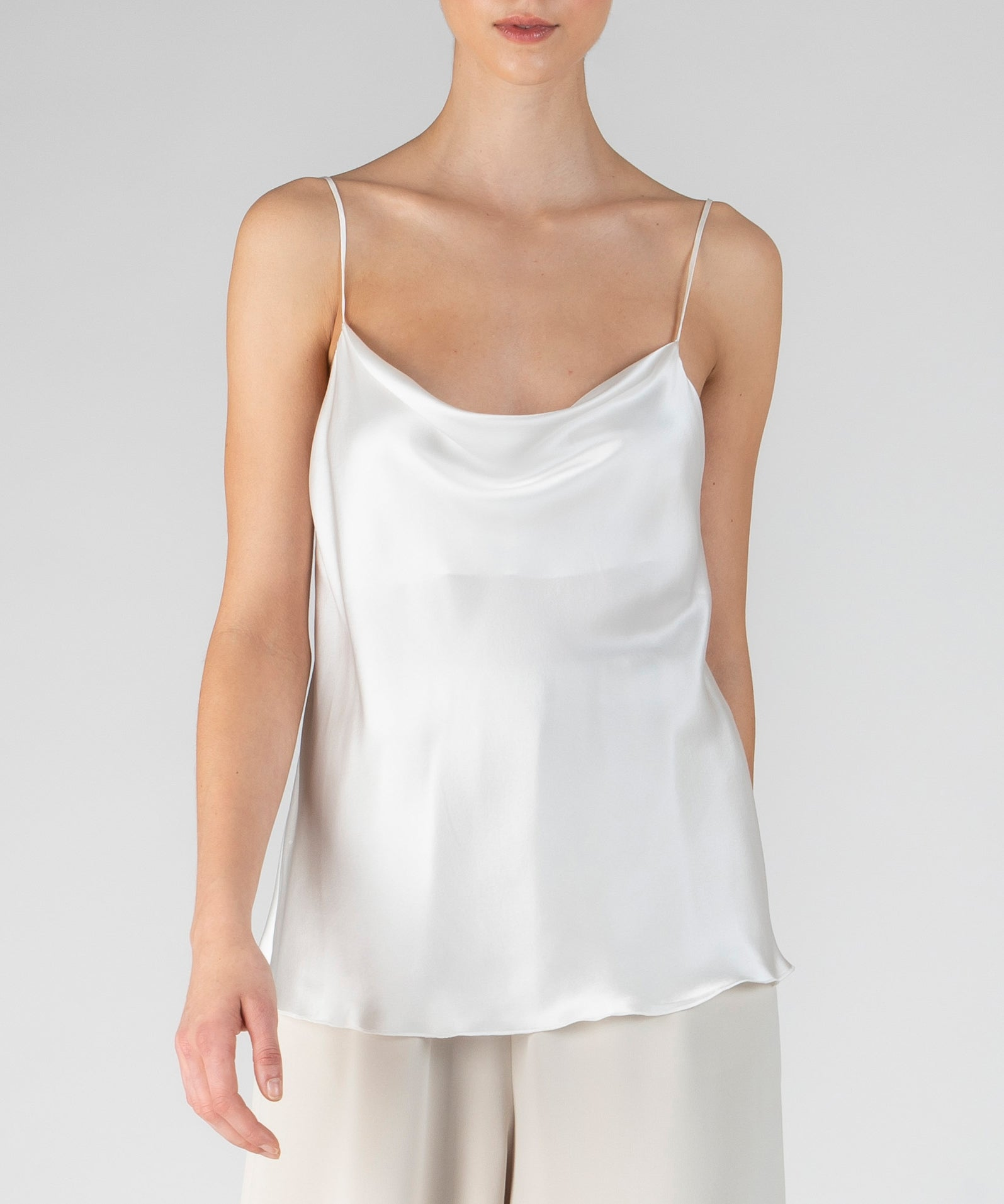 White Silk Charmeuse Cowl Neck Cami - Women's Silk Top by ATM Anthony Thomas Melillo