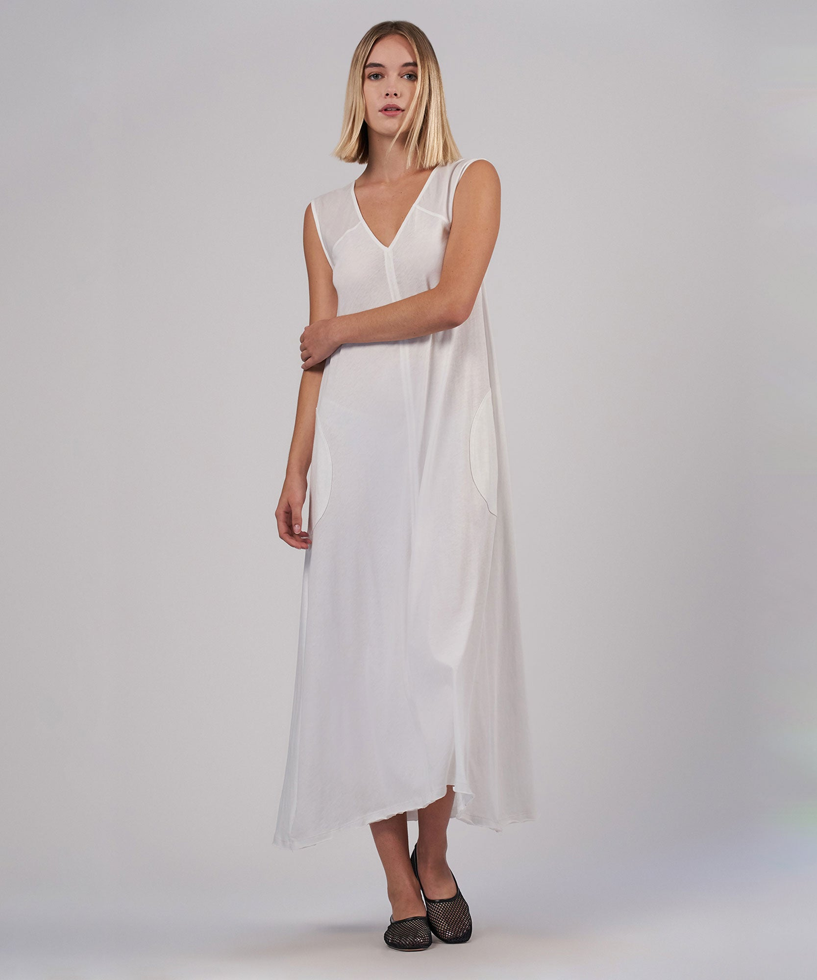 White Sleeveless V-Neck Maxi Dress - Women's Dress by ATM Anthony Thomas Melillo