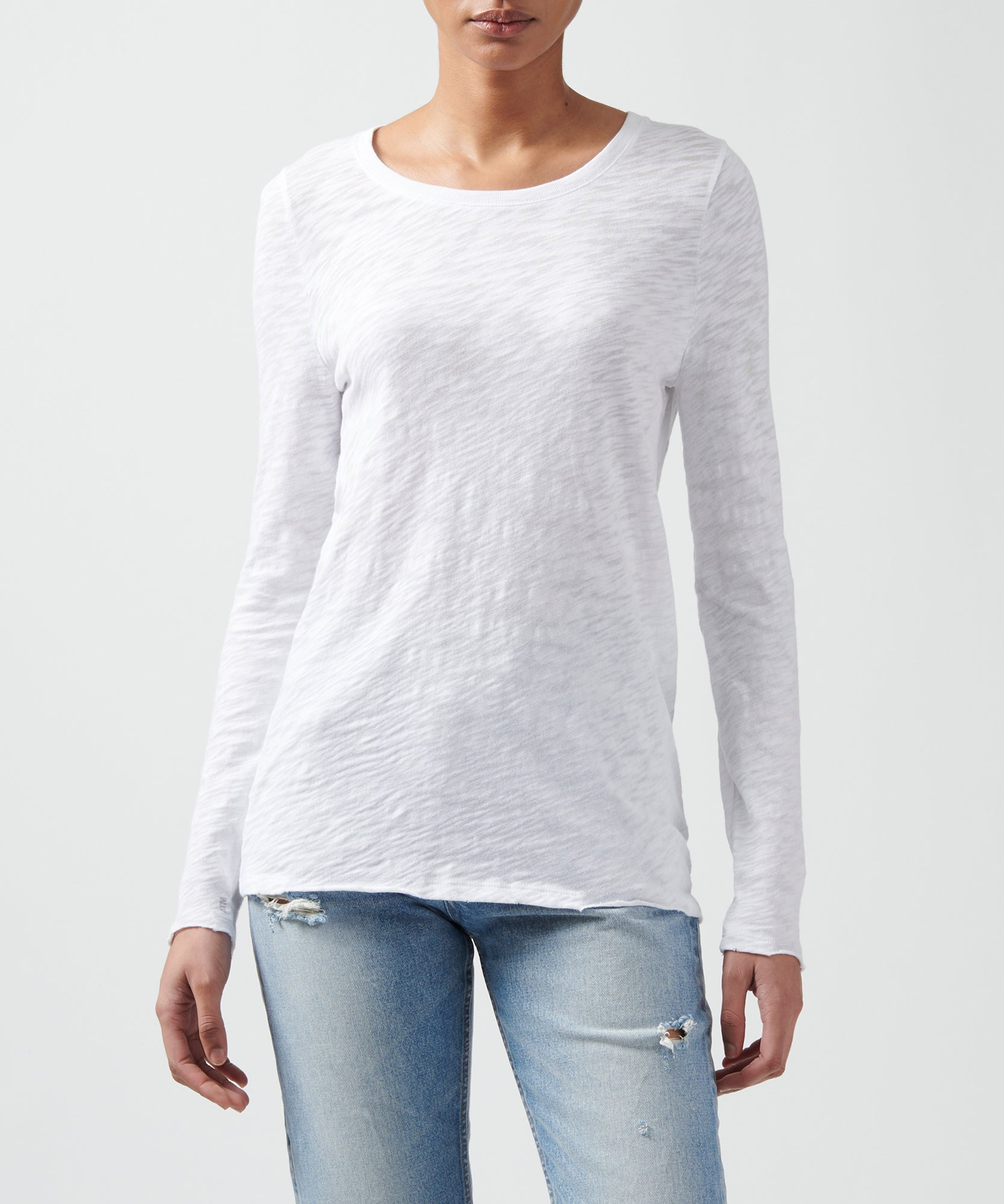 White Slub Jersey Destroyed Wash Tee - Men's Cotton Long Sleeve Tee by ATM Anthony Thomas Melillo
