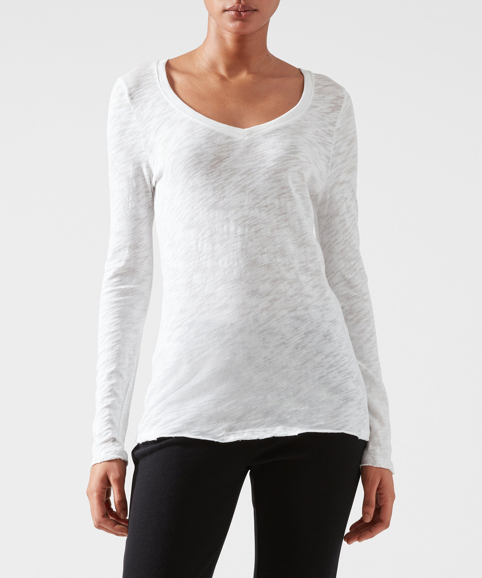 White Slub Jersey Long Sleeve V-Neck Tee - Women's Cotton Long Sleeve Tee ATM Anthony Thomas Melillo