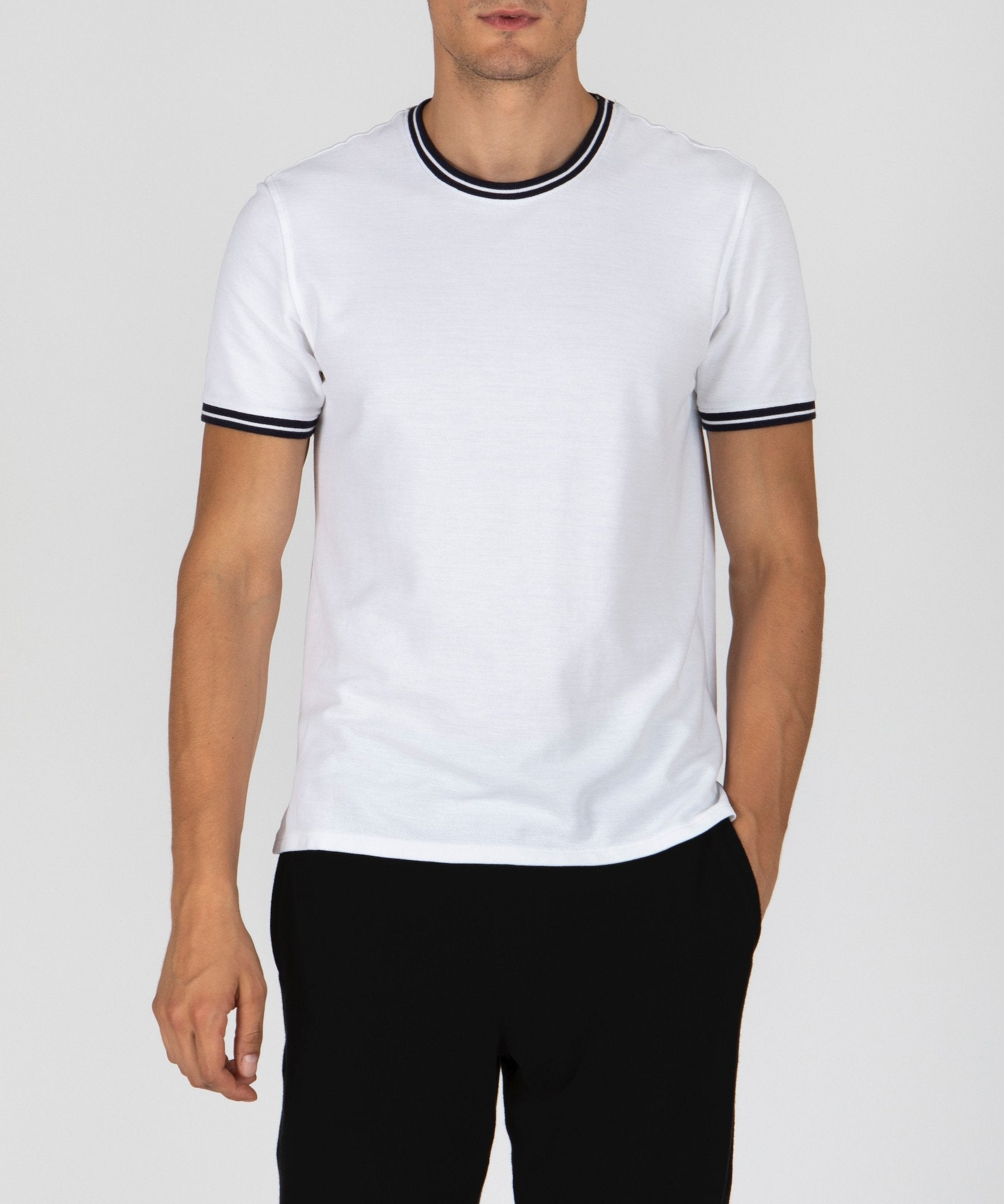 White Tipped Pique Crew Neck Tee - Men's Pique Short Sleeve Tee by ATM Anthony Thomas Melillo