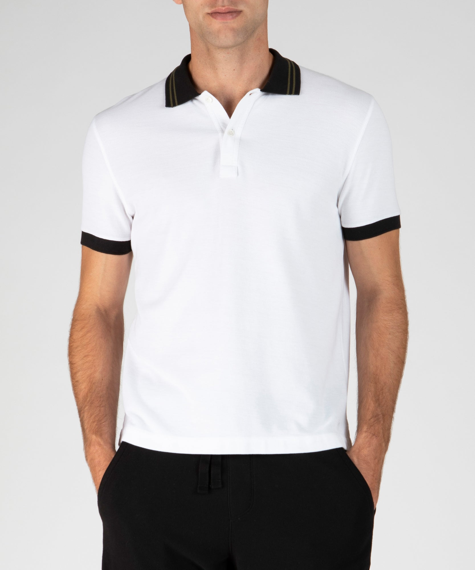 White Tipped Pique Polo - Men's Polo Shirt by ATM Anthony Thomas Melillo