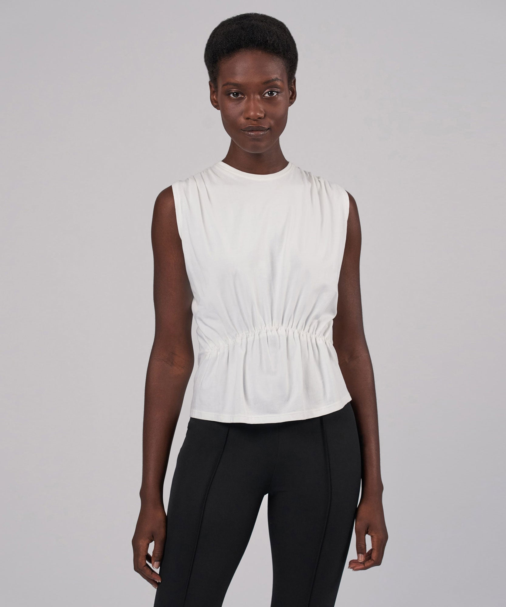 White Tuck Detail Sleeveless Cotton Tee - Women's Cotton Top by ATM Anthony Thomas Melillo
