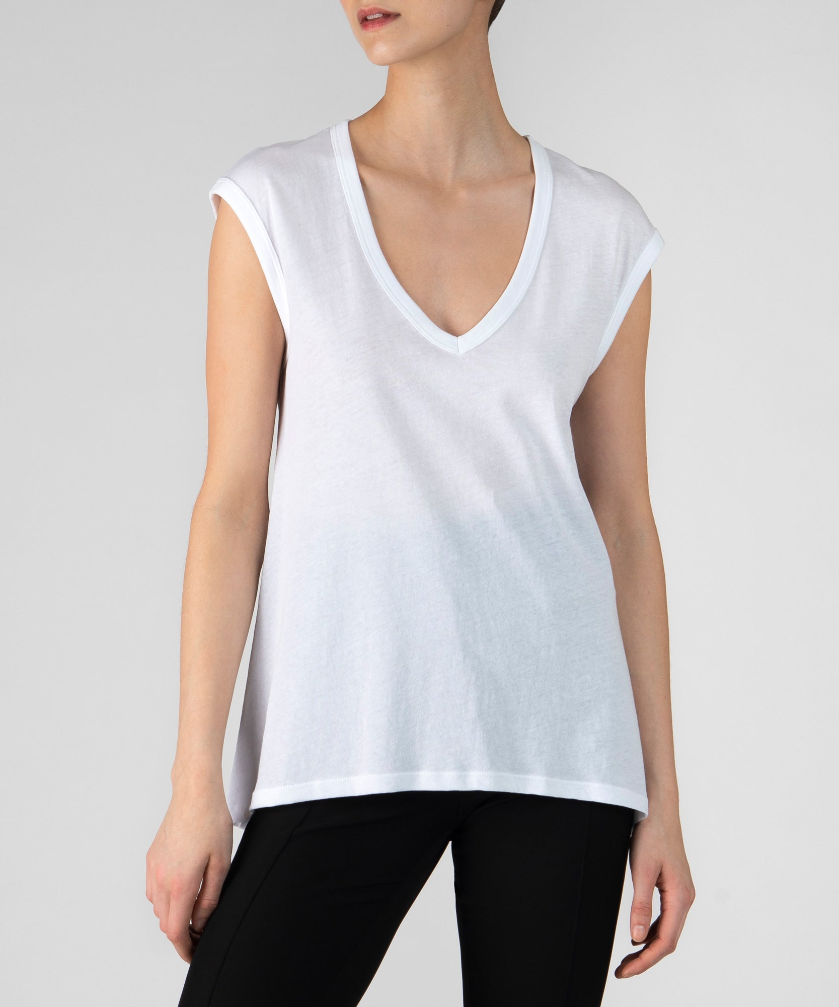 White Vintage Jersey Sleeveless Tee - Women's Luxe Top by ATM Anthony Thomas Melillo