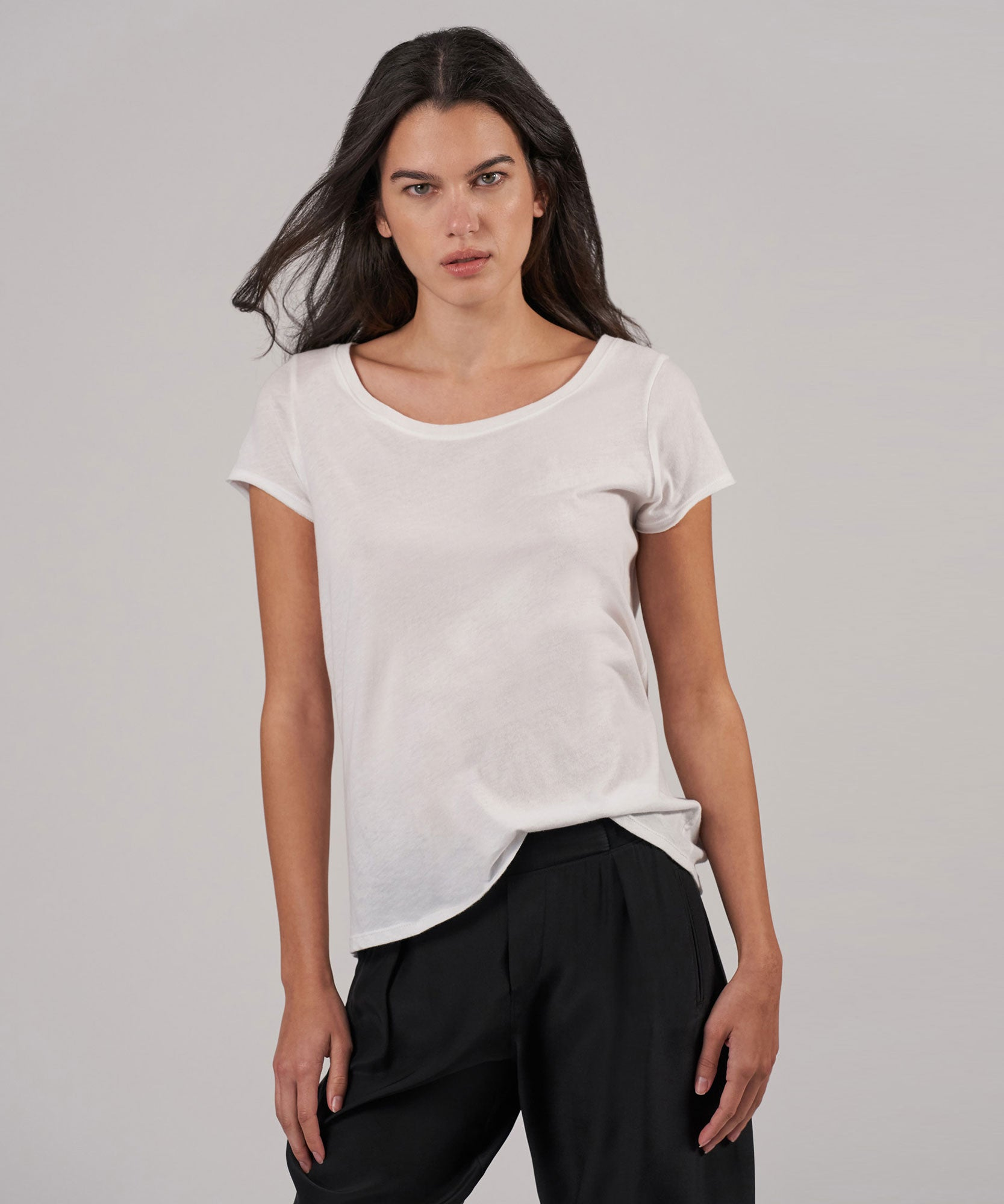 White Vintage Jersey Wide Crew Neck Tee - Women's Luxe Top by ATM Anthony Thomas Melillo