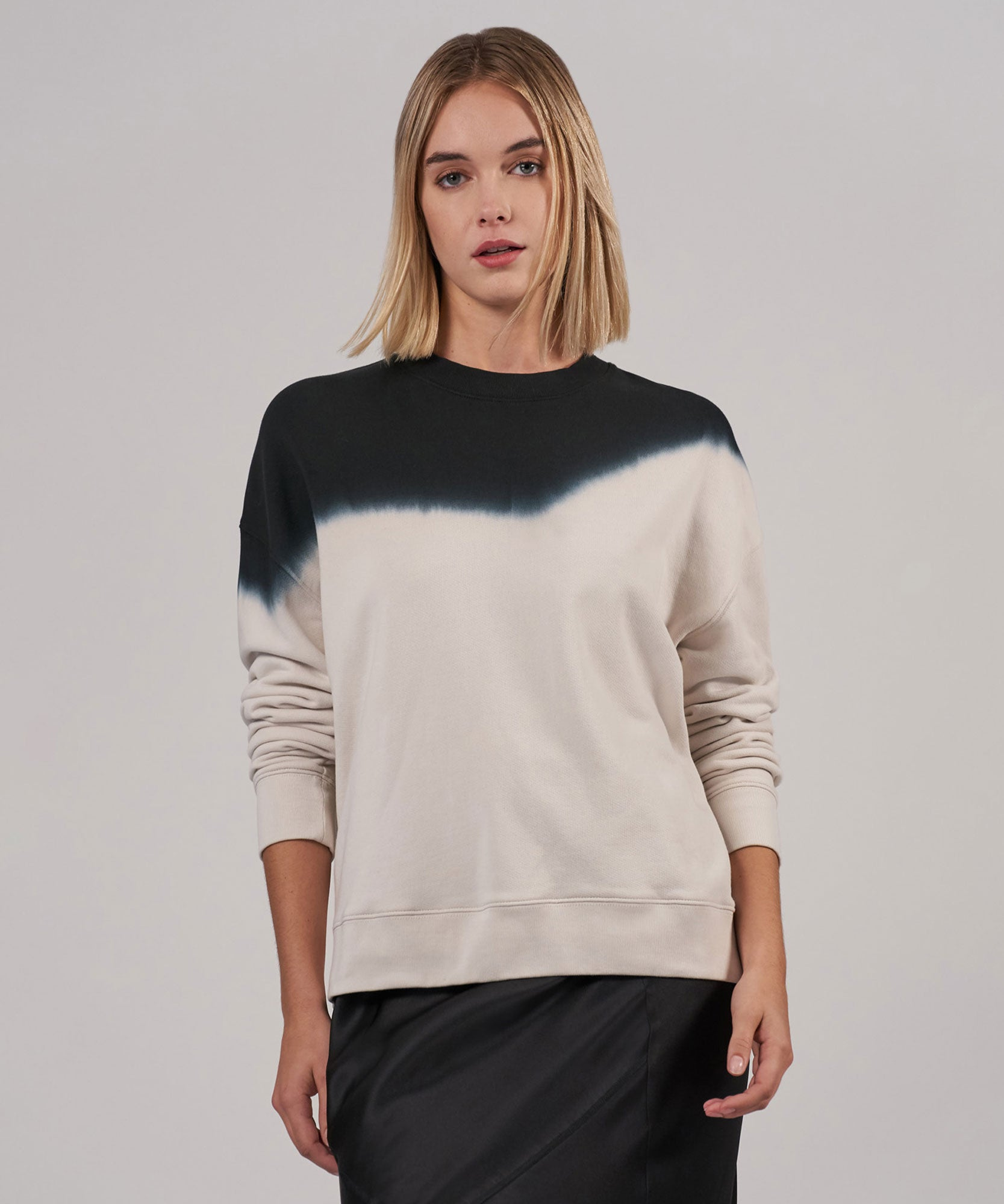 Tan Combo Dip Dye French Terry Sweatshirt - Women's Sweatshirt by ATM Anthony Thomas Melillo