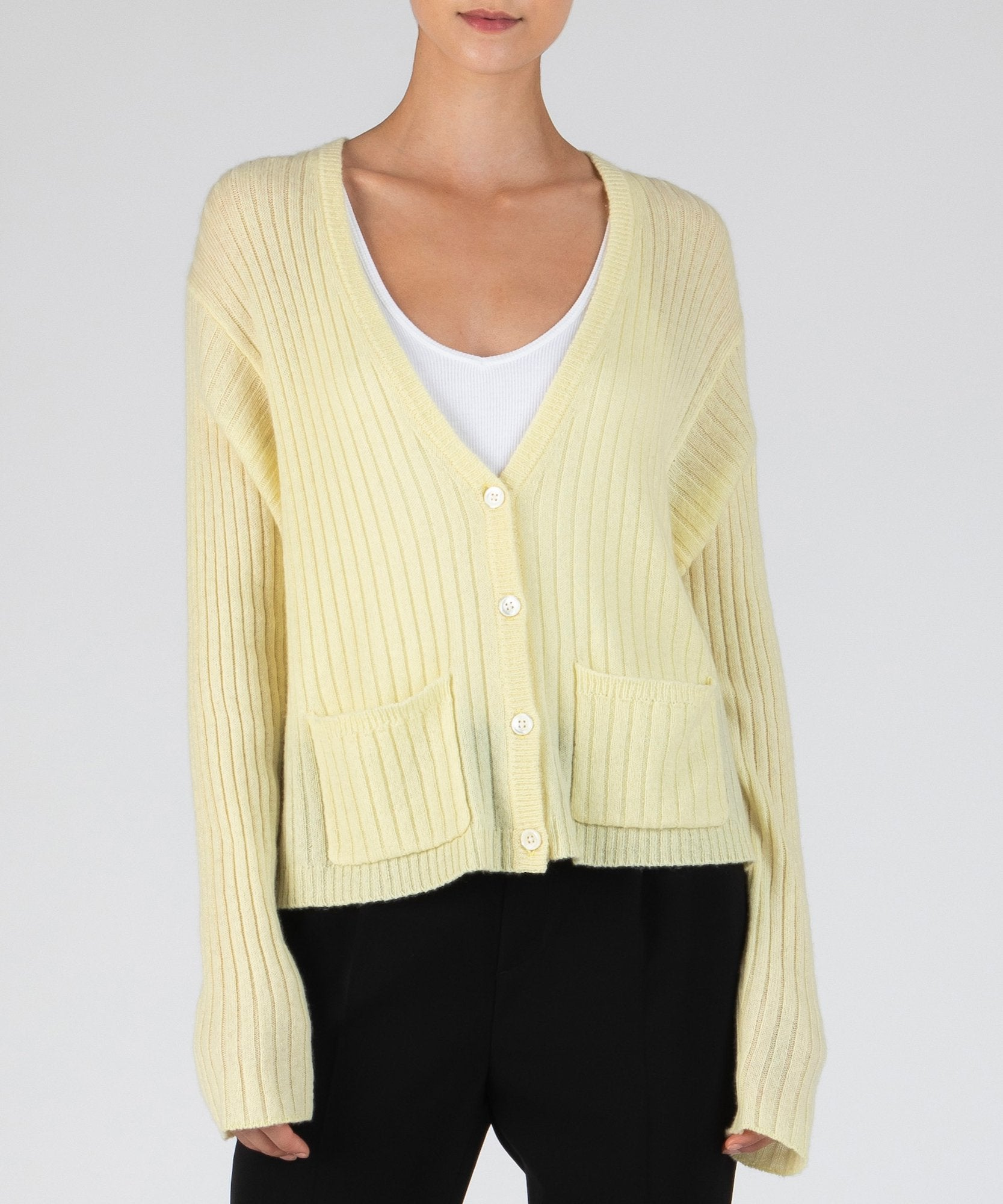 Yellow Cashmere Deep V-Neck Cardigan - Women's Luxe Sweater by ATM Anthony Thomas Melillo
