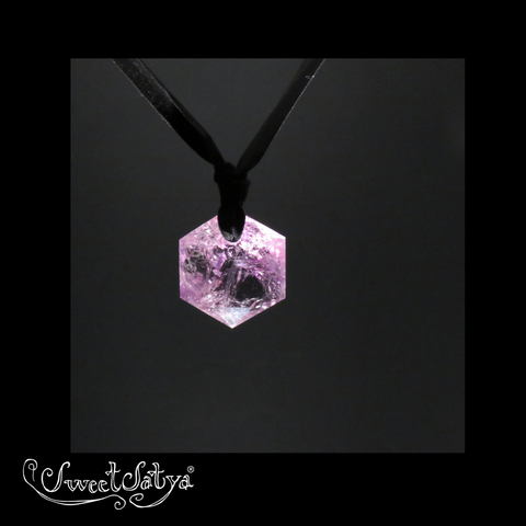 Amethyst Hexagon Crystal Pendant - SweetSatya